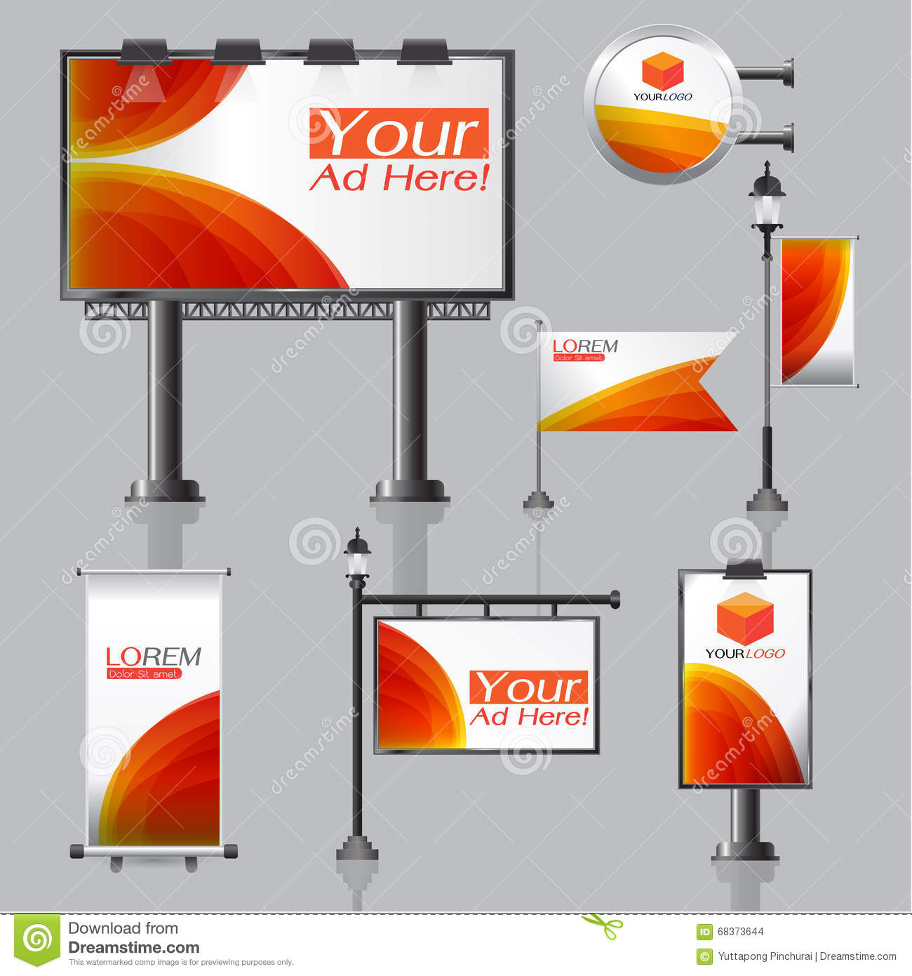 Vector Outdoor Advertising Design For Company With Color