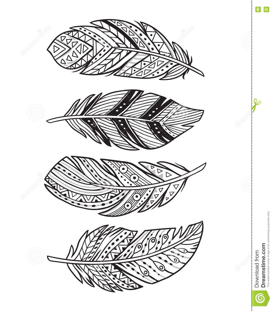 Vector Outline Abstract Boho Feathers On A White Background Stock Vector