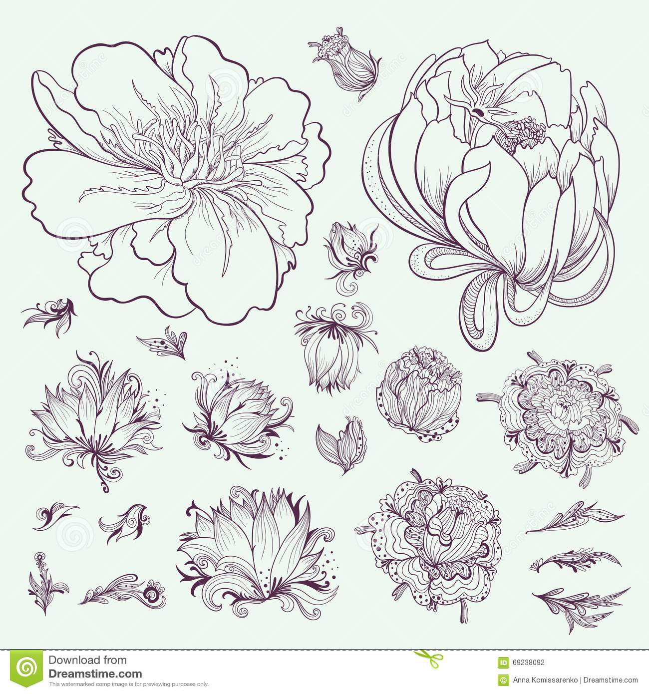 Line Art Flowers Husqvarna : Vector outline flowers sketch set stock