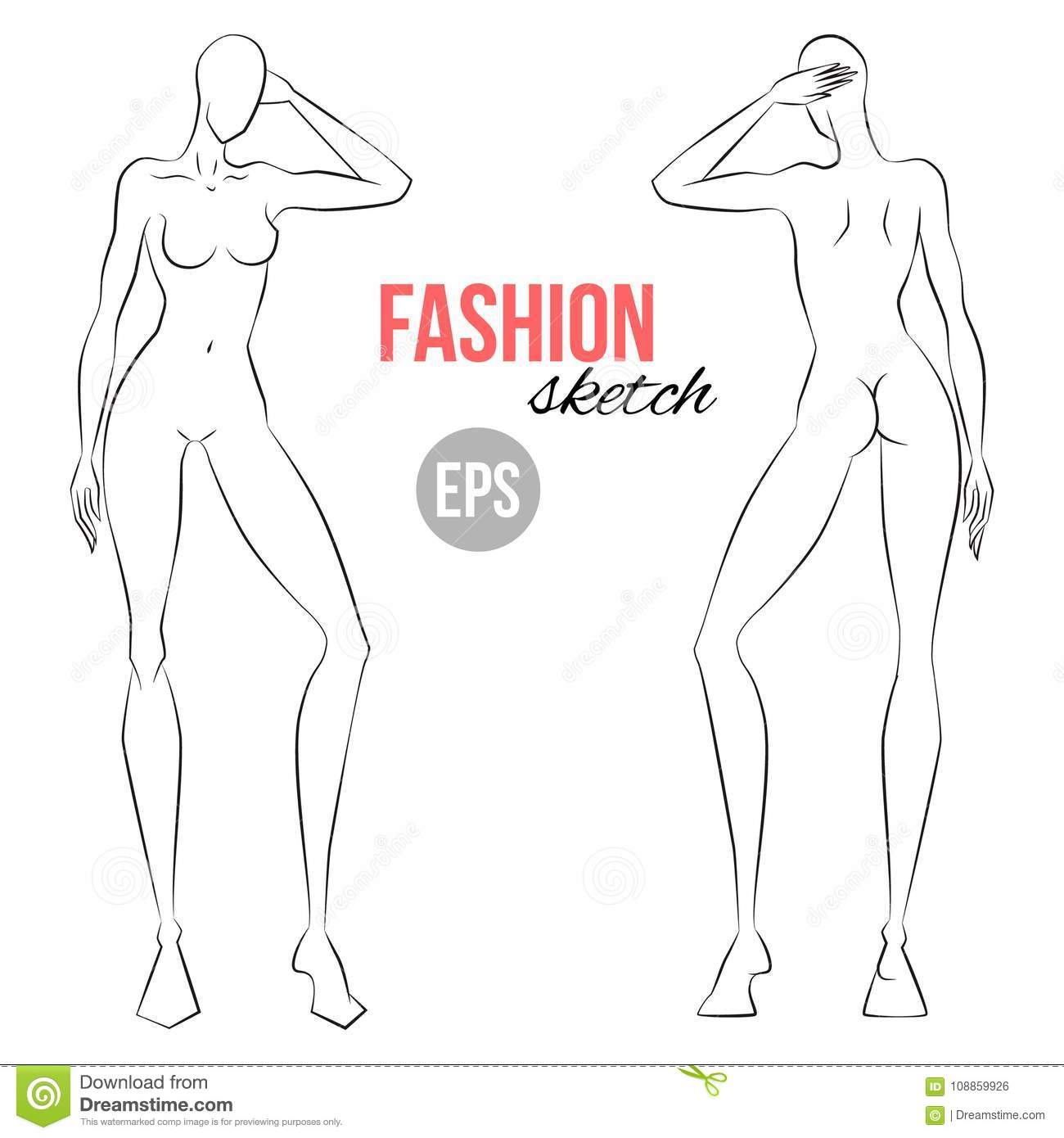vector outline girl model template for fashion sketching template