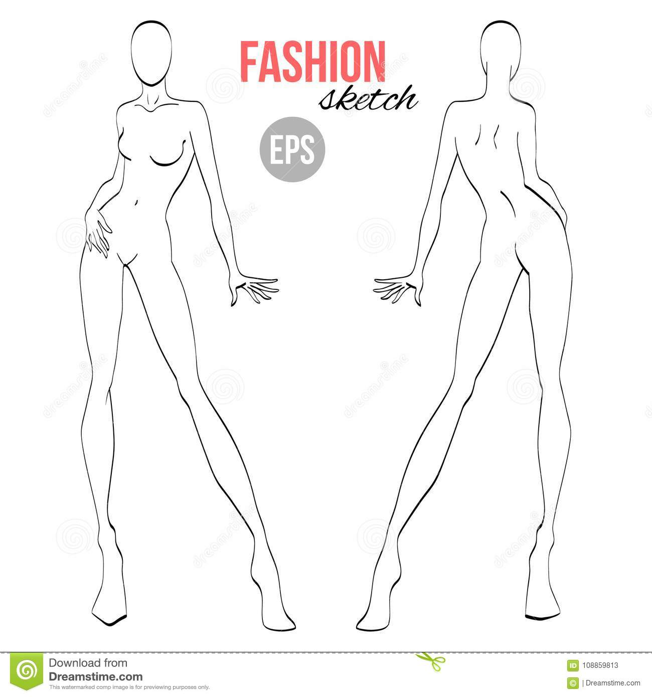 vector outline girl model template for fashion sketching stock