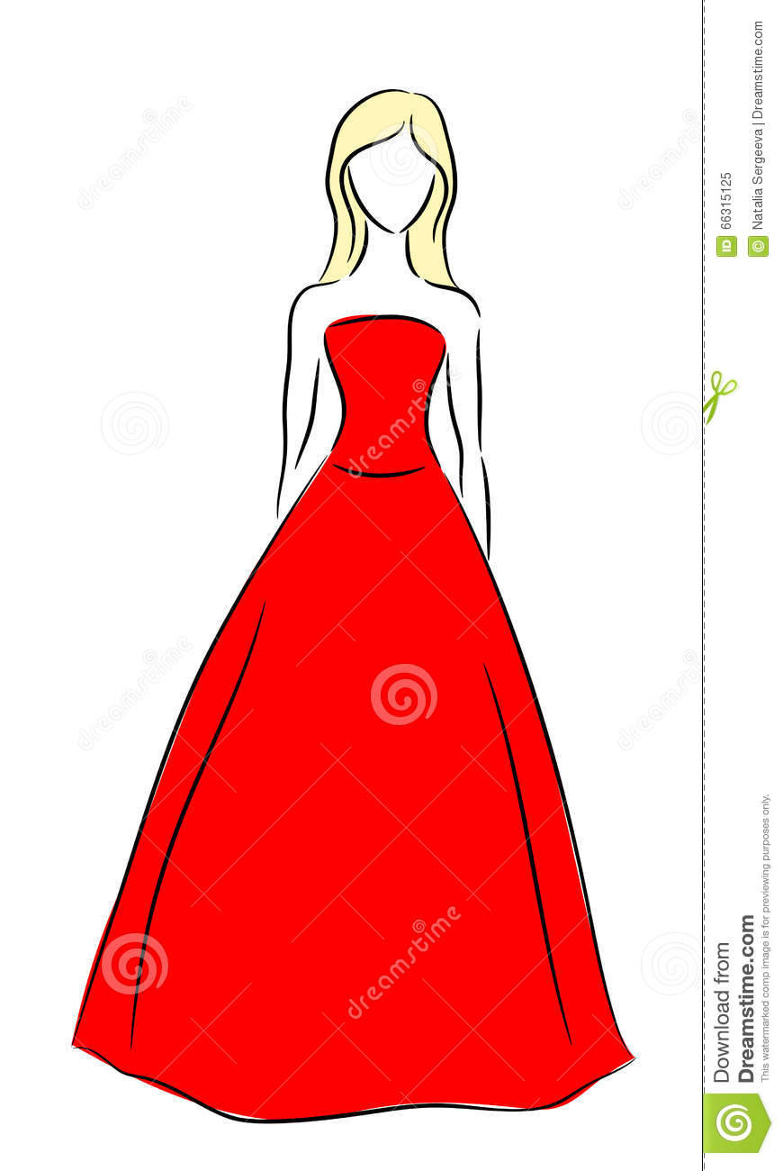 vector outline of a girl in red dress stock illustration