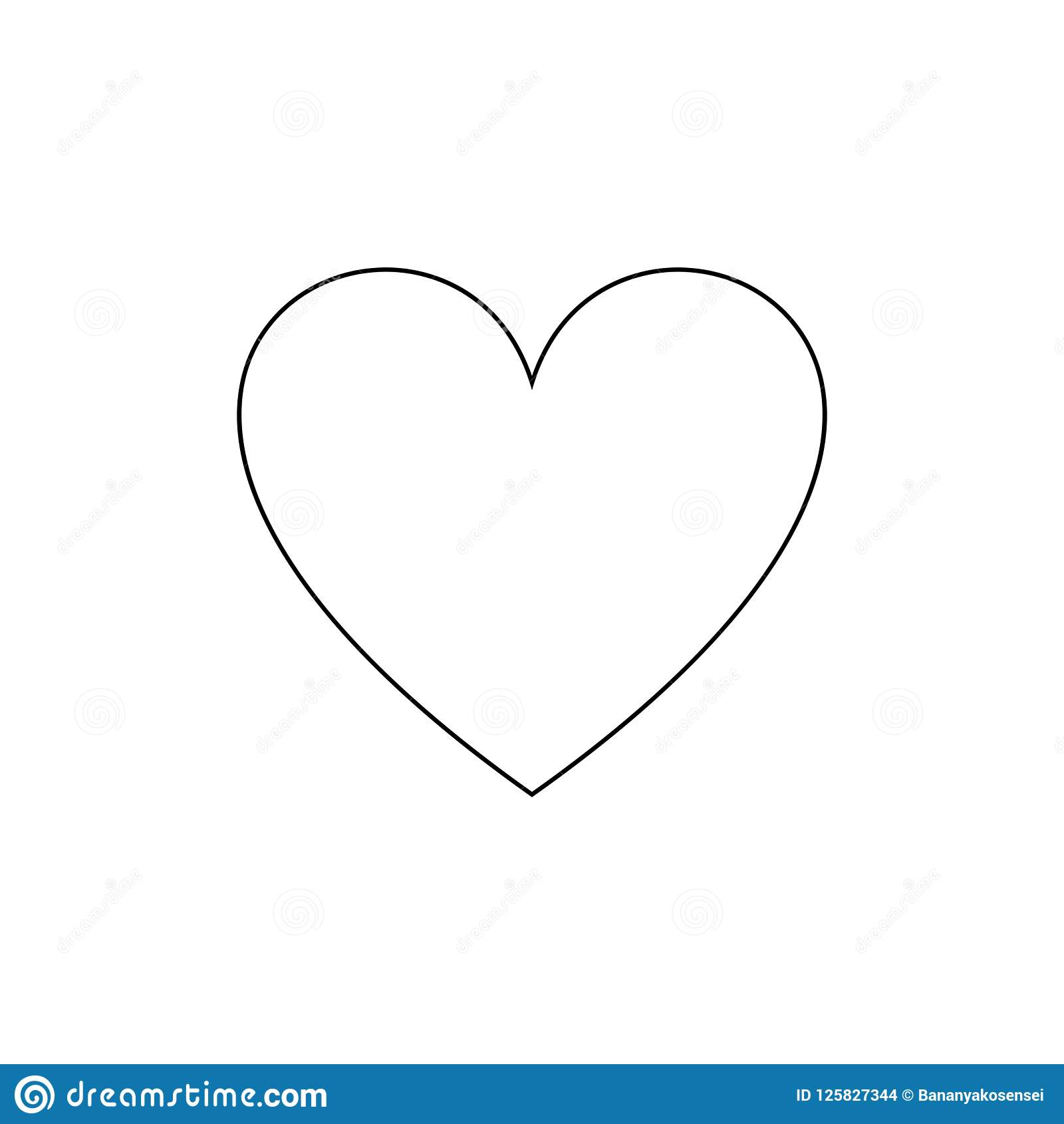 Vector Outline Heart Icon Simple Love Symbol Black Line Isolated