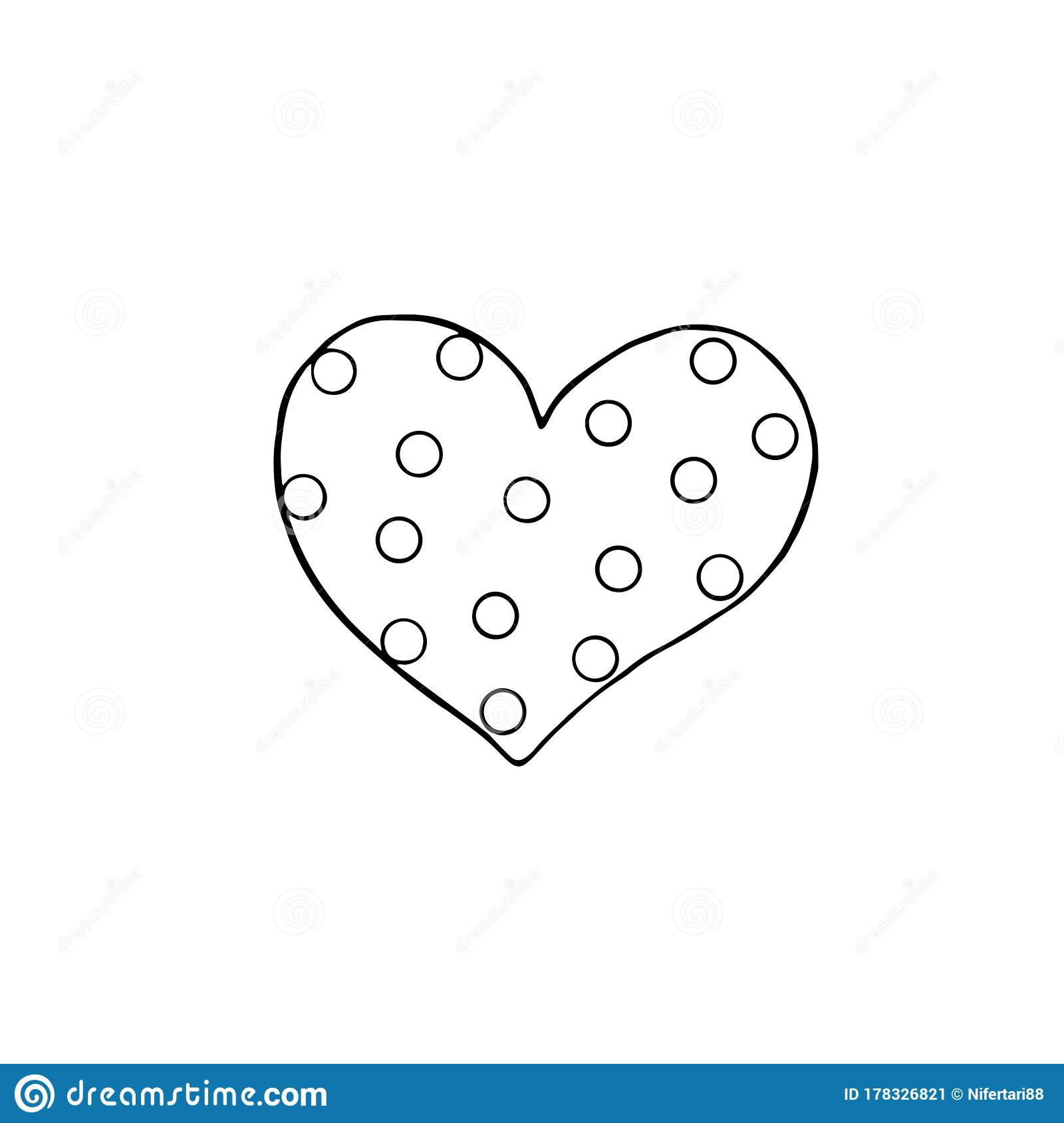 Vector Outline Of A Heart With Polka Dots. Coloring Page ...