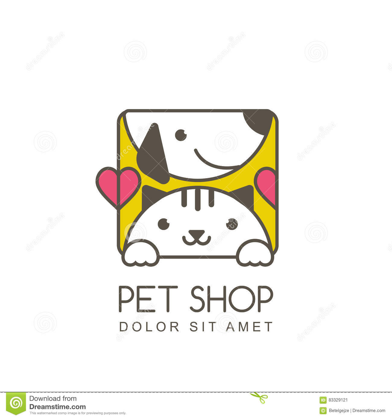 Vector Outline Illustration Of Cute Muzzle Of Cat And Smiling Do