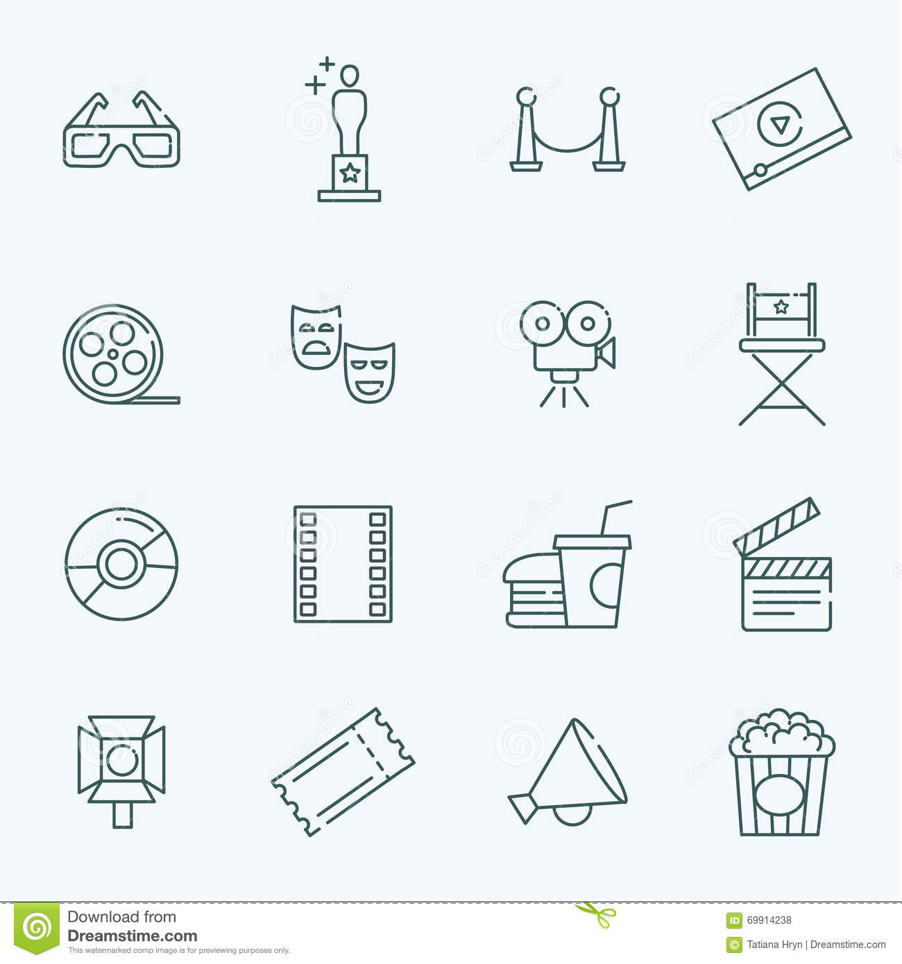 Cinema And Movie Outline Icons Set Stock Vector - Image: 46681075