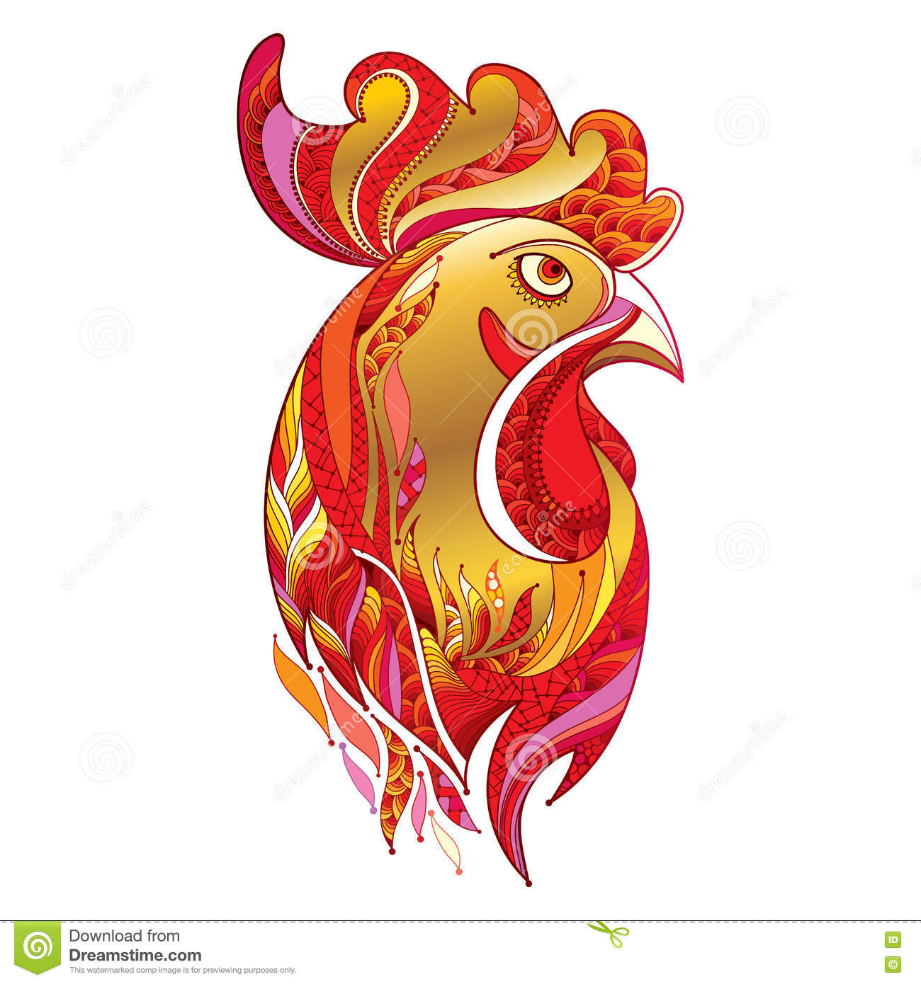 Vector Outline Rooster Or Head Profile In Gold And Red On ...