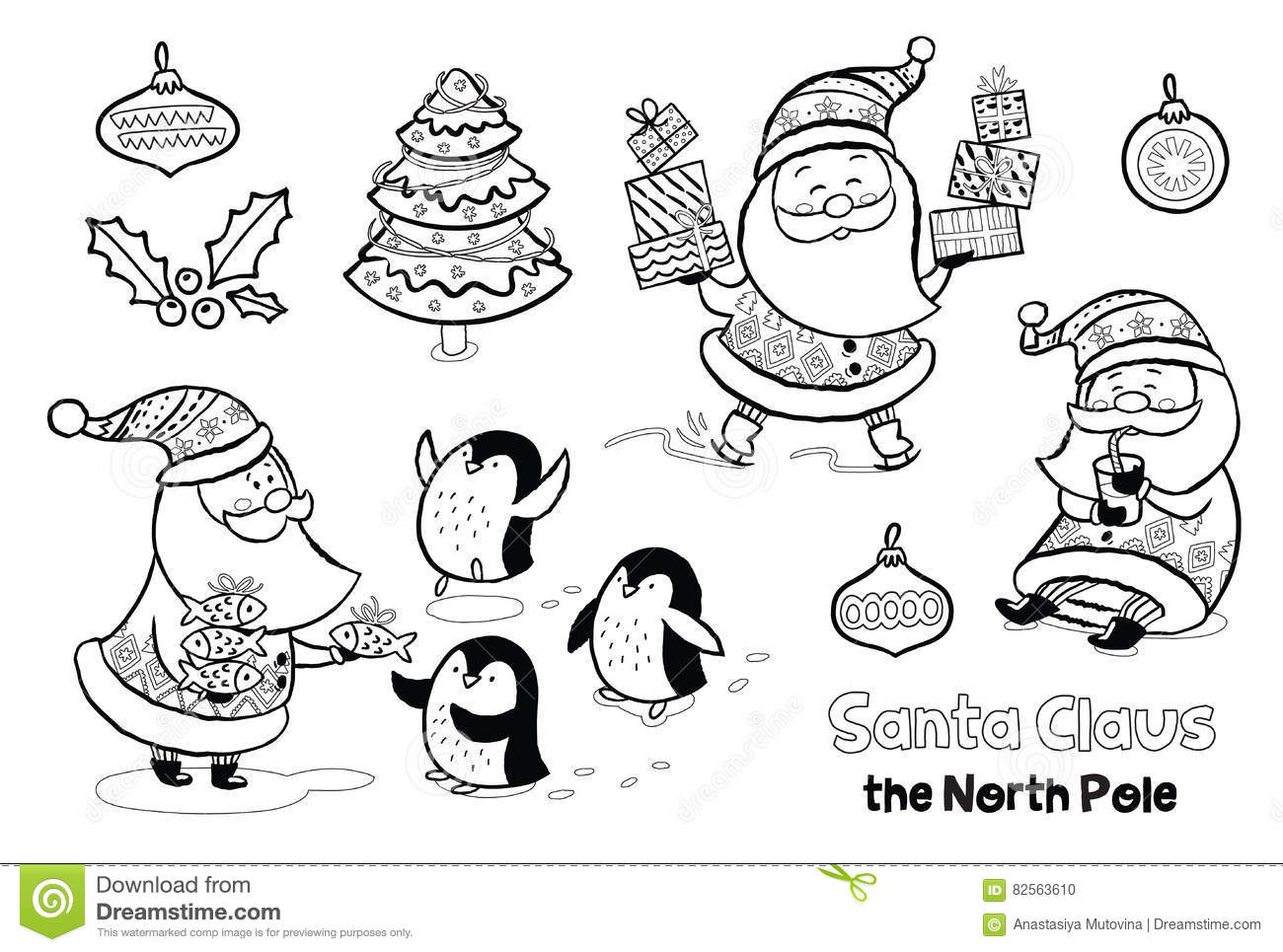 Vector Outline Set With Santa Claus Stock Vector