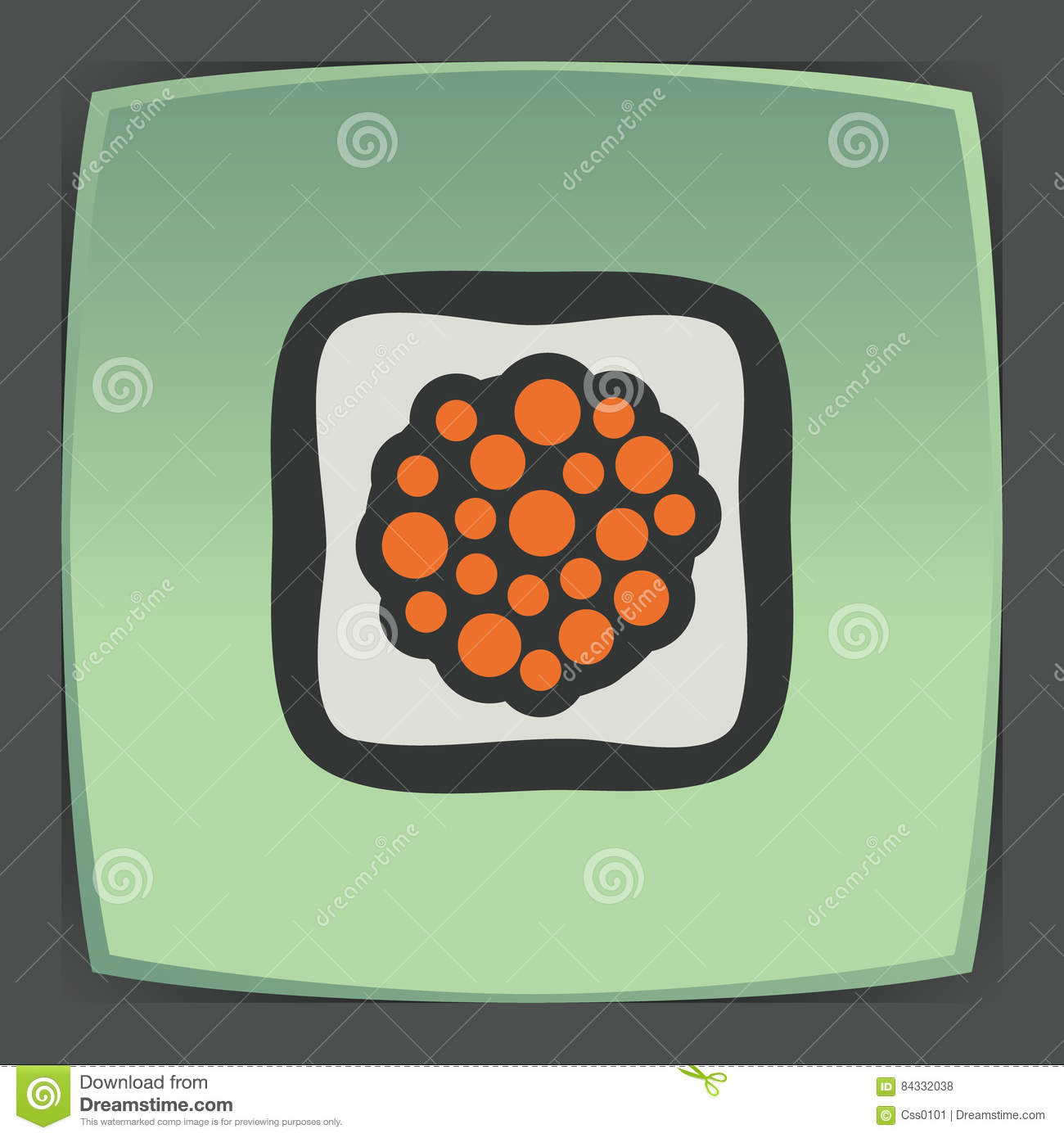 Vector outline sushi rice roll with caviar japan food icon. Modern logo.