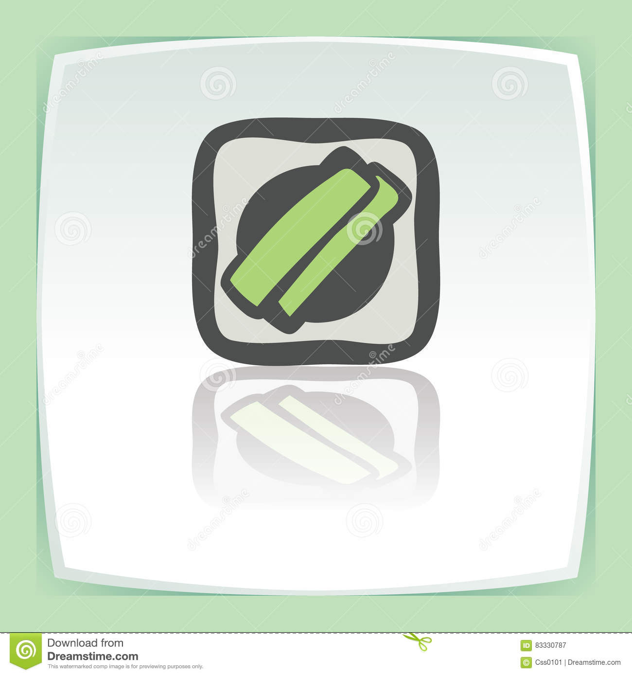 Vector outline sushi rice roll with green grass japan food icon. Modern.