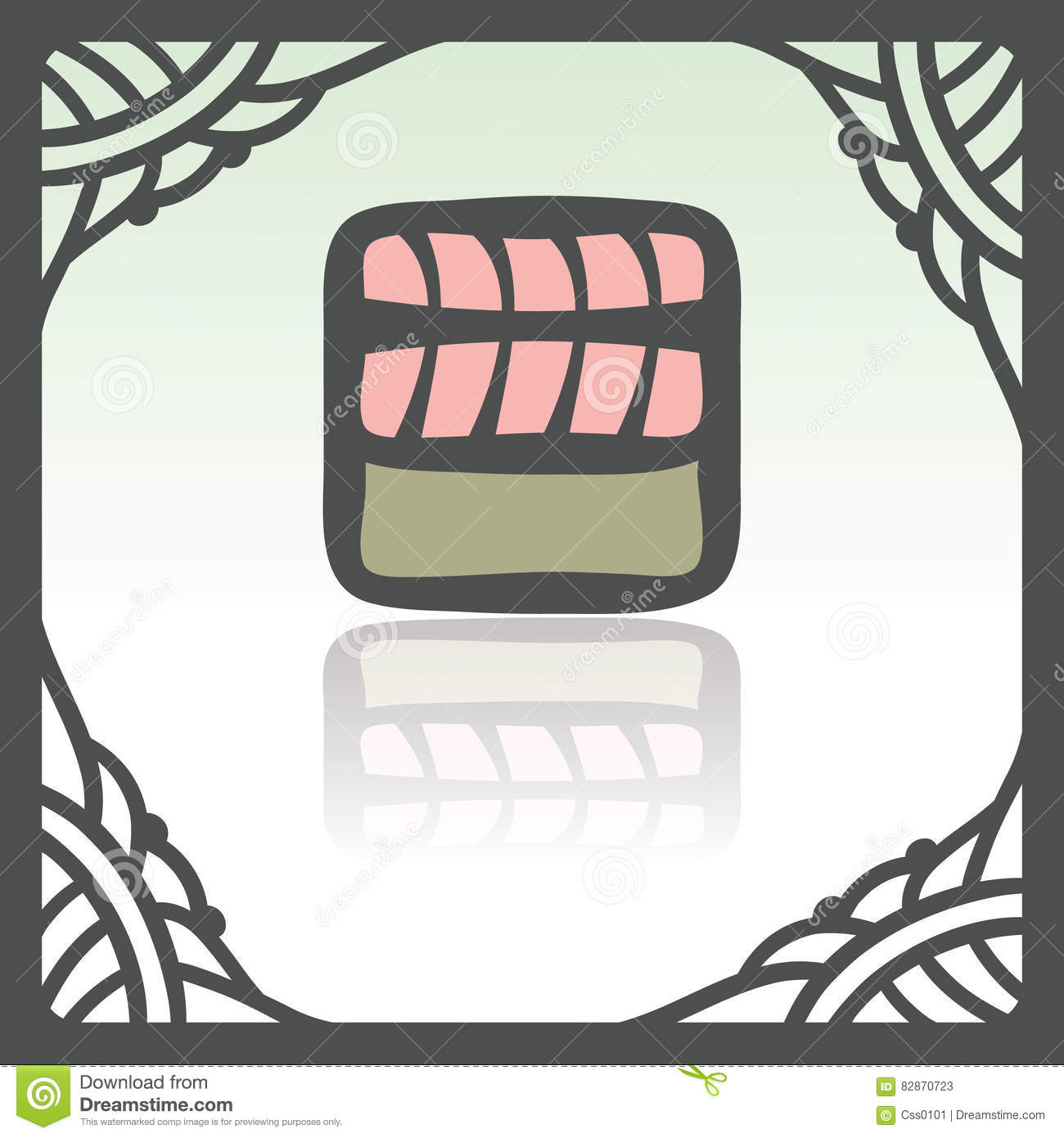 Vector outline sushi rice roll with raw fish meat salmon japan food icon.