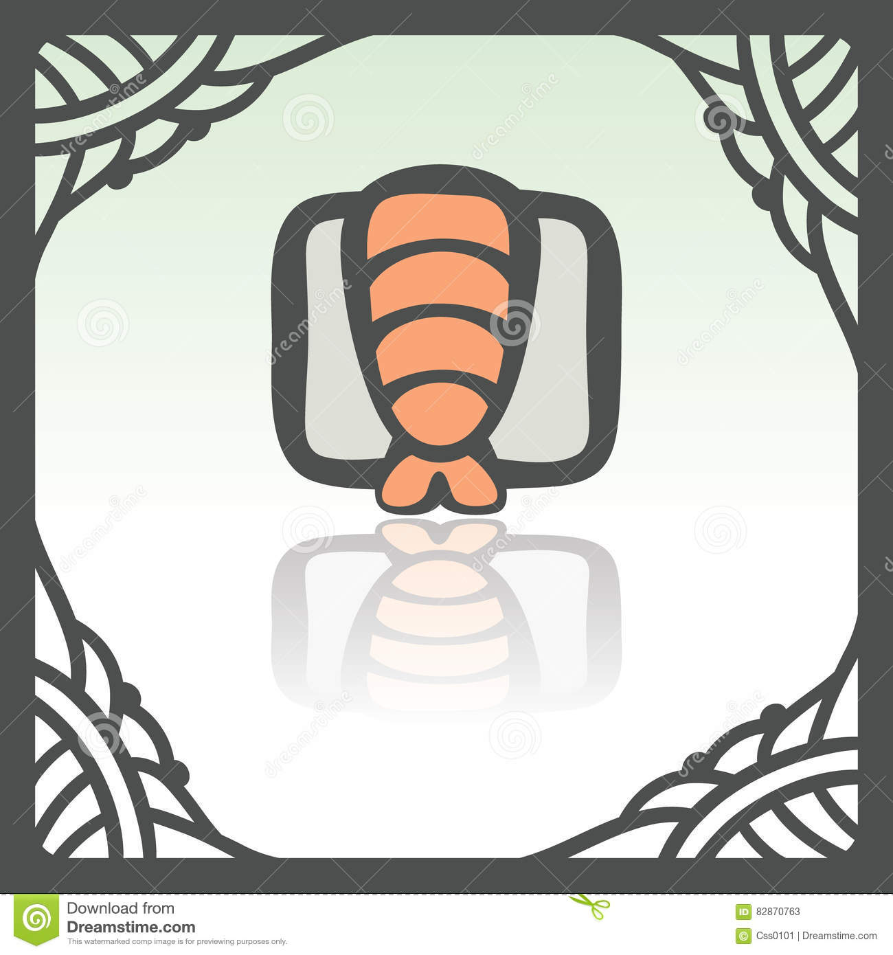 Vector outline sushi rice roll with shrimp japan food icon. Modern logo.