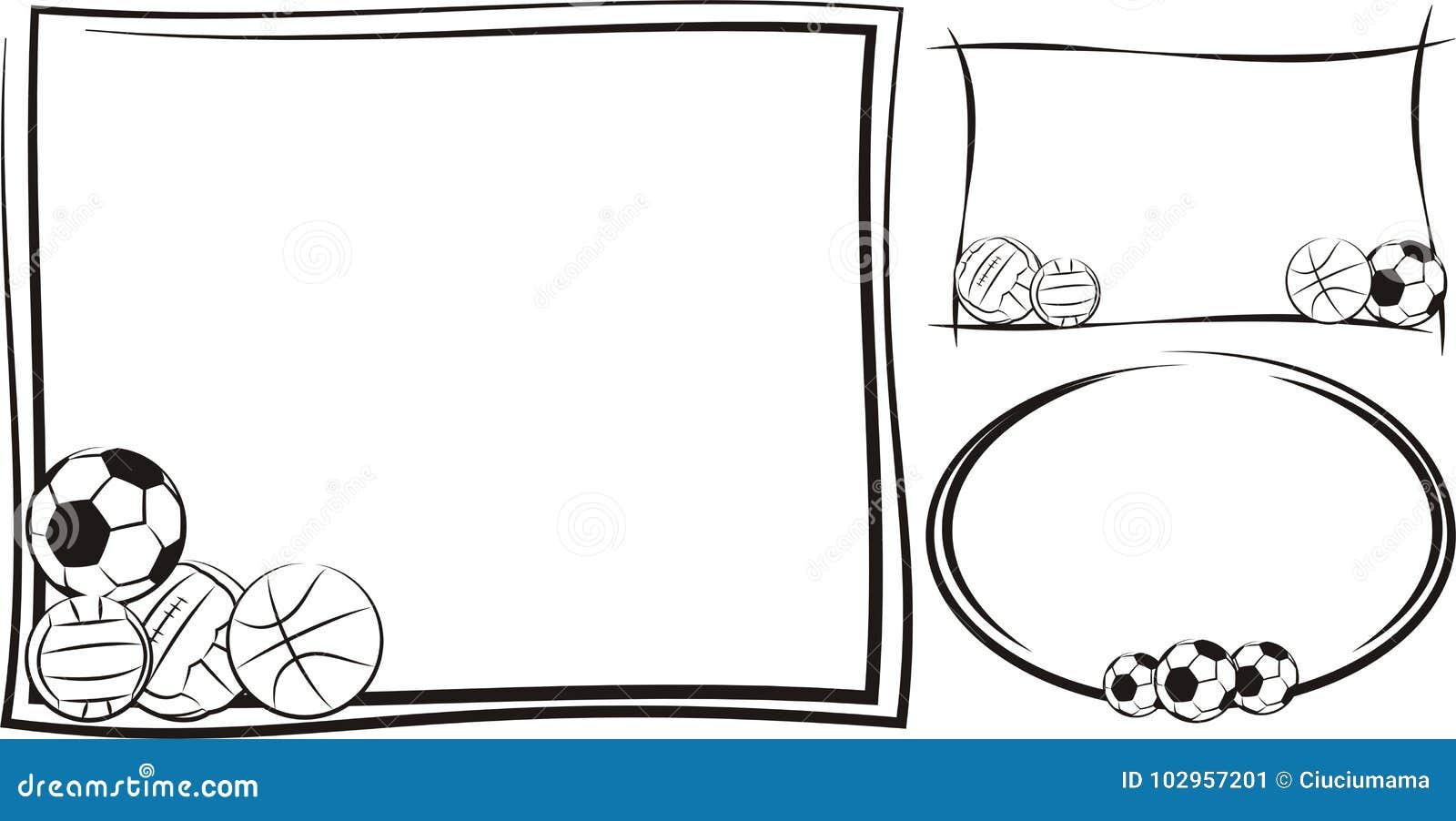Soccer, Football, Basketball, Volleyball Frame Or Banner Stock ...