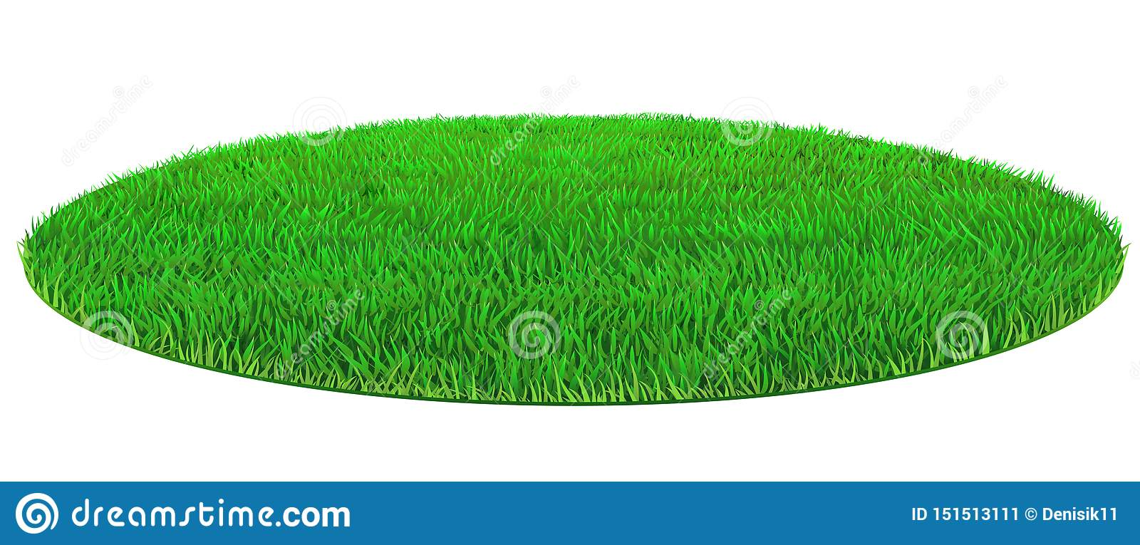 Vector Oval Green Lawn Grass Texture Stock Vector