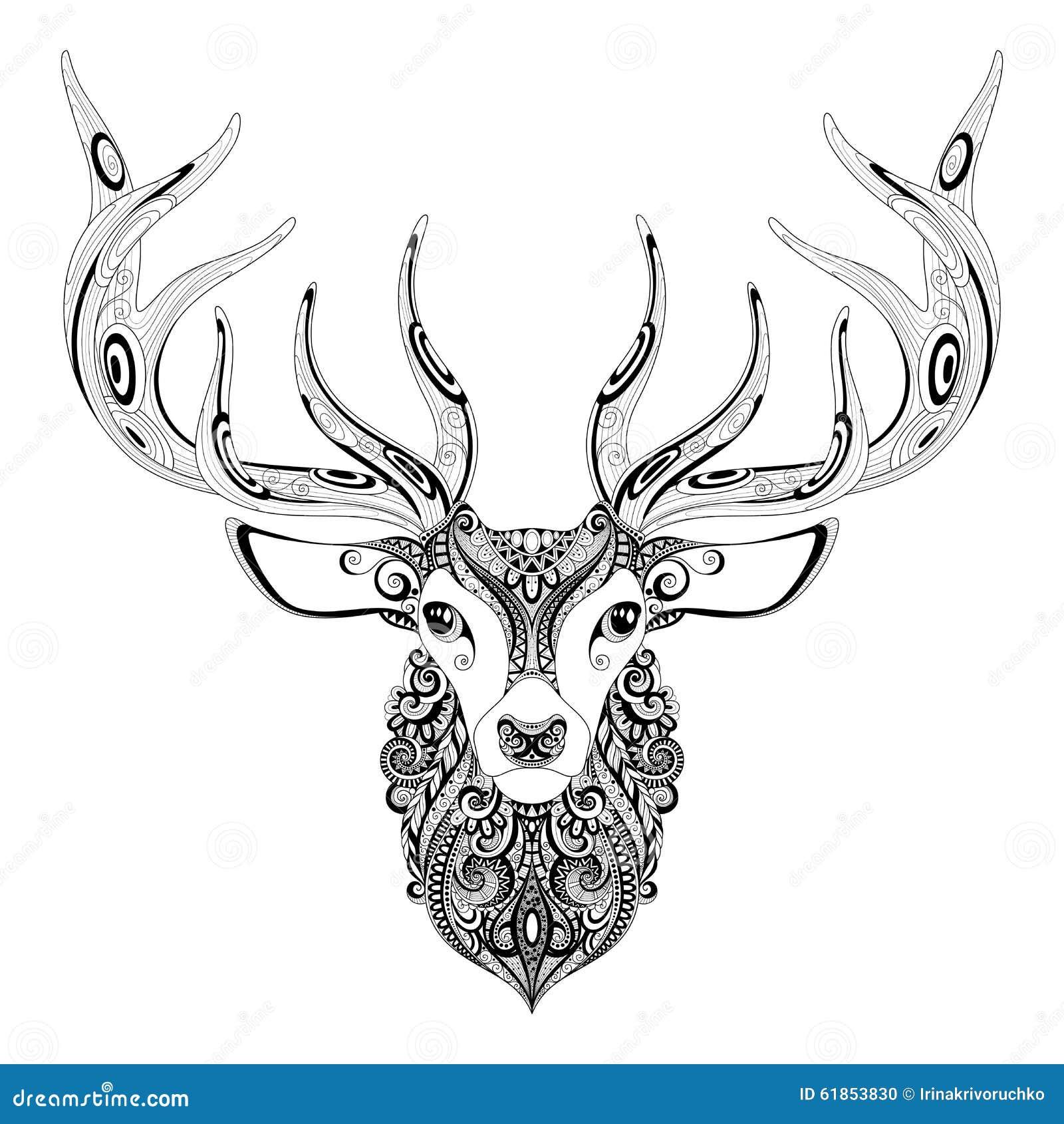 Vector overladen herten gehoornd hoofd vector illustratie afbeelding 61853830 - Deco slaapkamer ontwerp volwassen ...