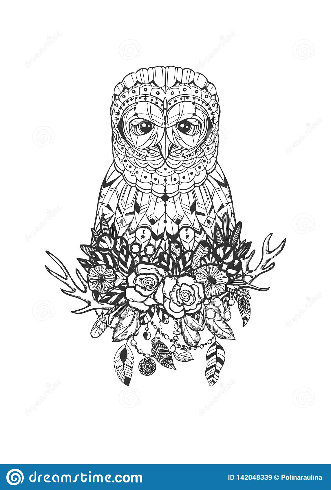 Tribal hand drawn vector owl tattoo drawing design in boho stale.