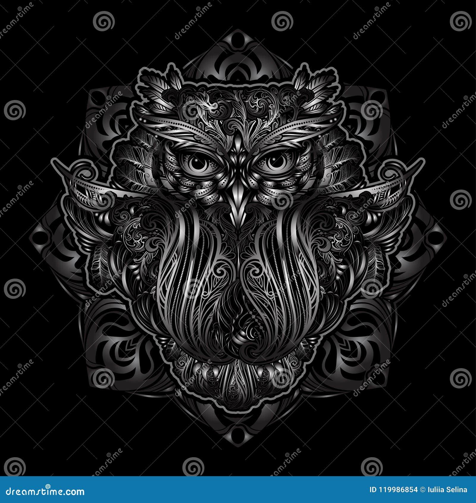 Vector Owl Tattoo Stock Vector Illustration Of Dream 119986854