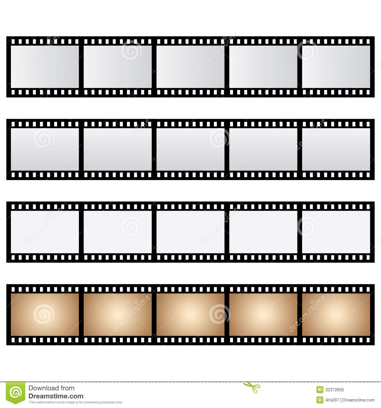 Vector pack film strip isolated royalty free stock photo image