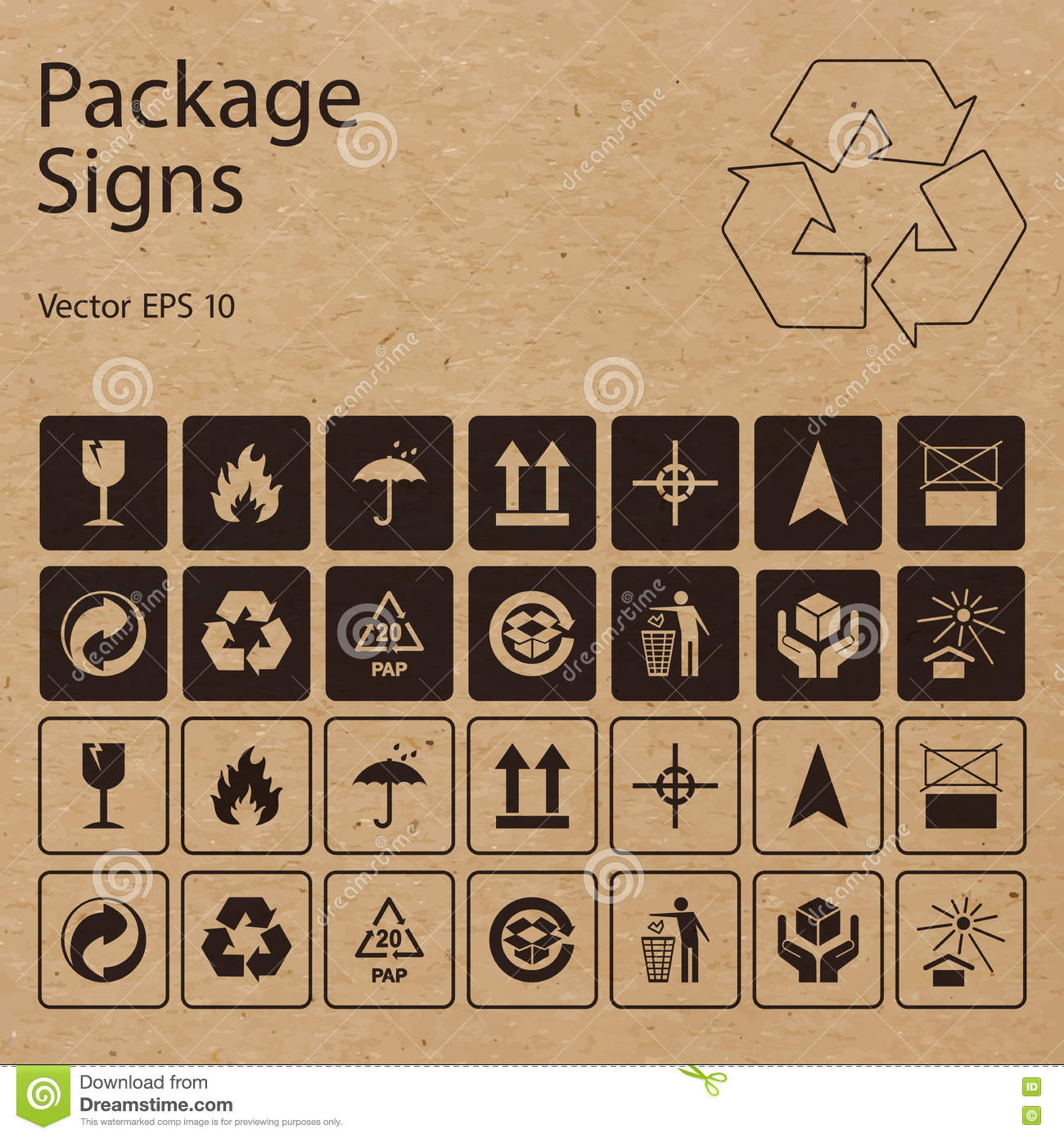 Vector package symbols on craft paper background