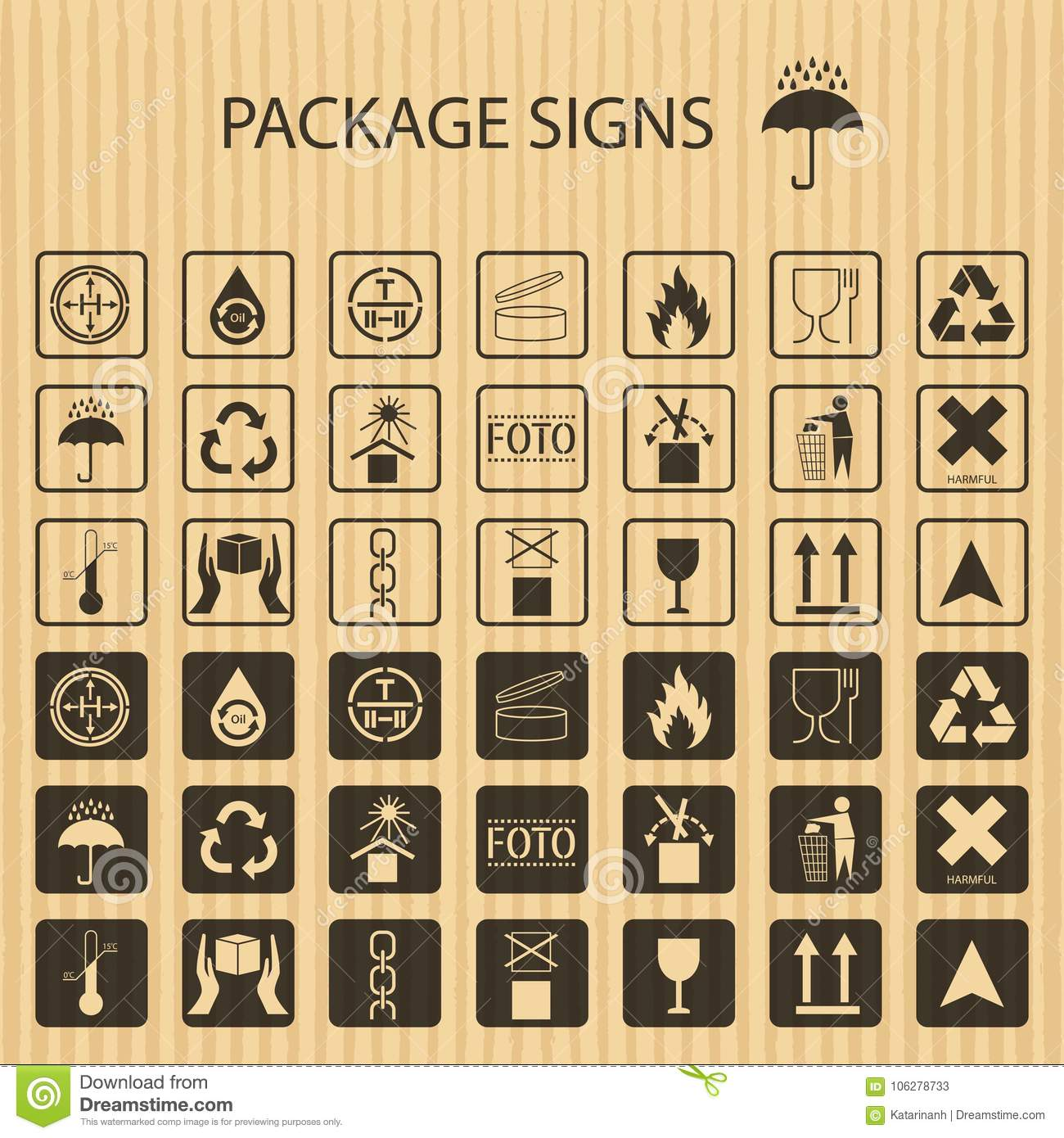 Vector Packaging Symbols On Realistic Cardboard Background