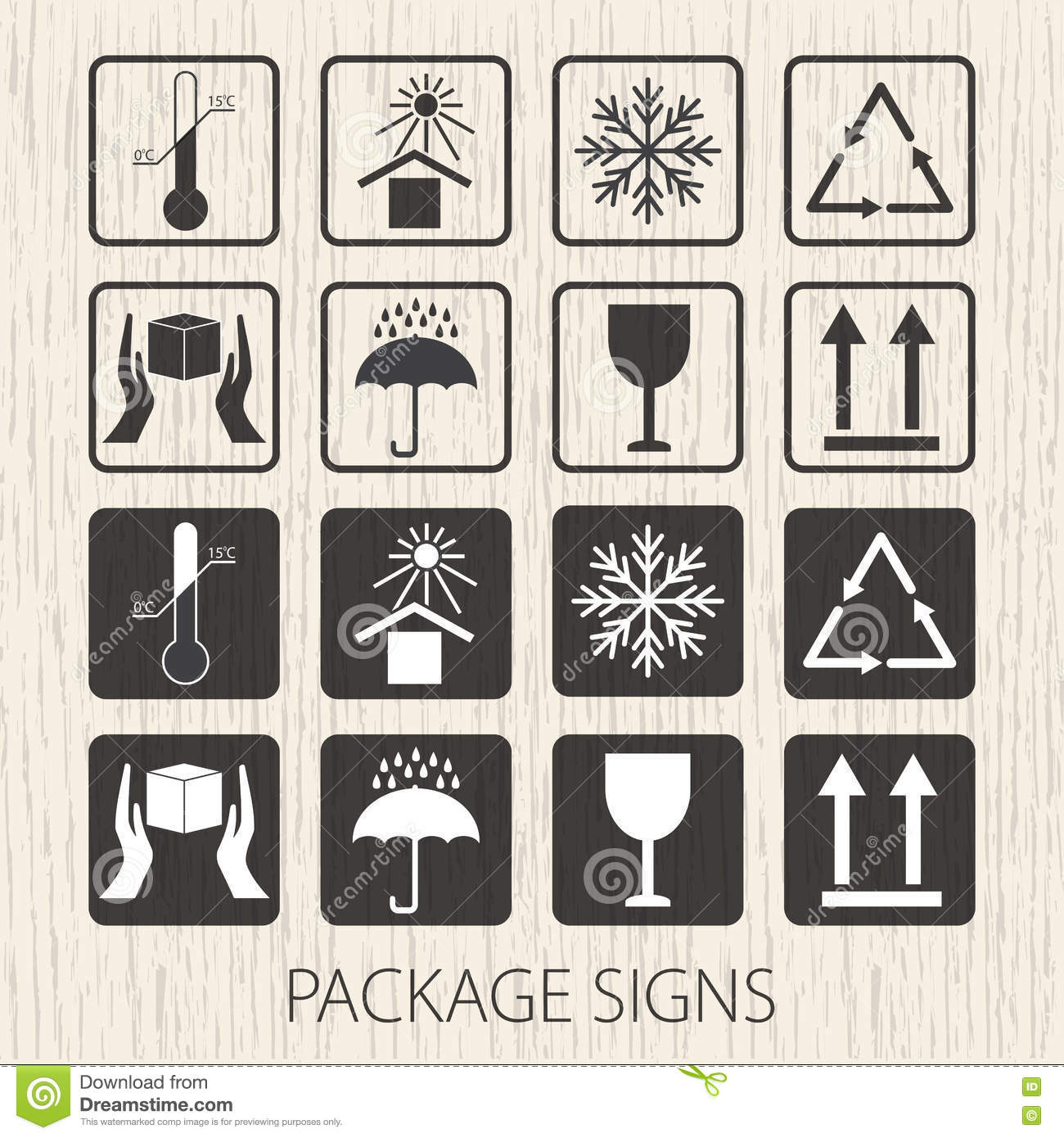 Vector Packaging Symbols On Wooden Background. Icon Set Including ...