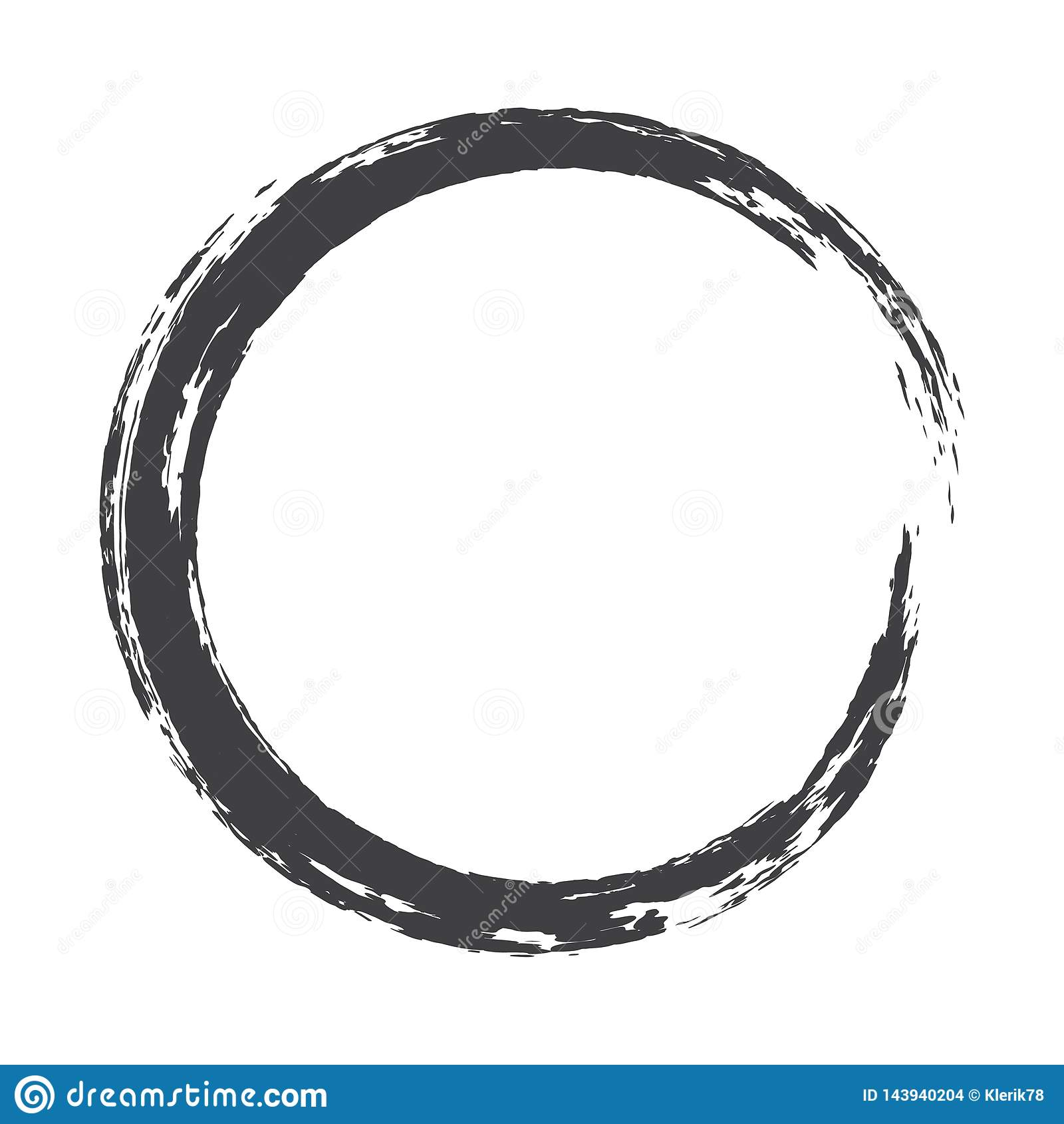 Vector paint brush circle stroke. Abstract Japanese style hand drawn ink round