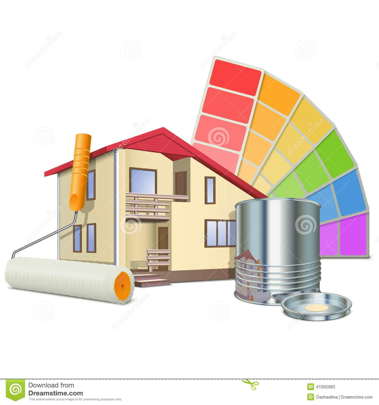 Vector painting concept with house stock vector for Home painting images