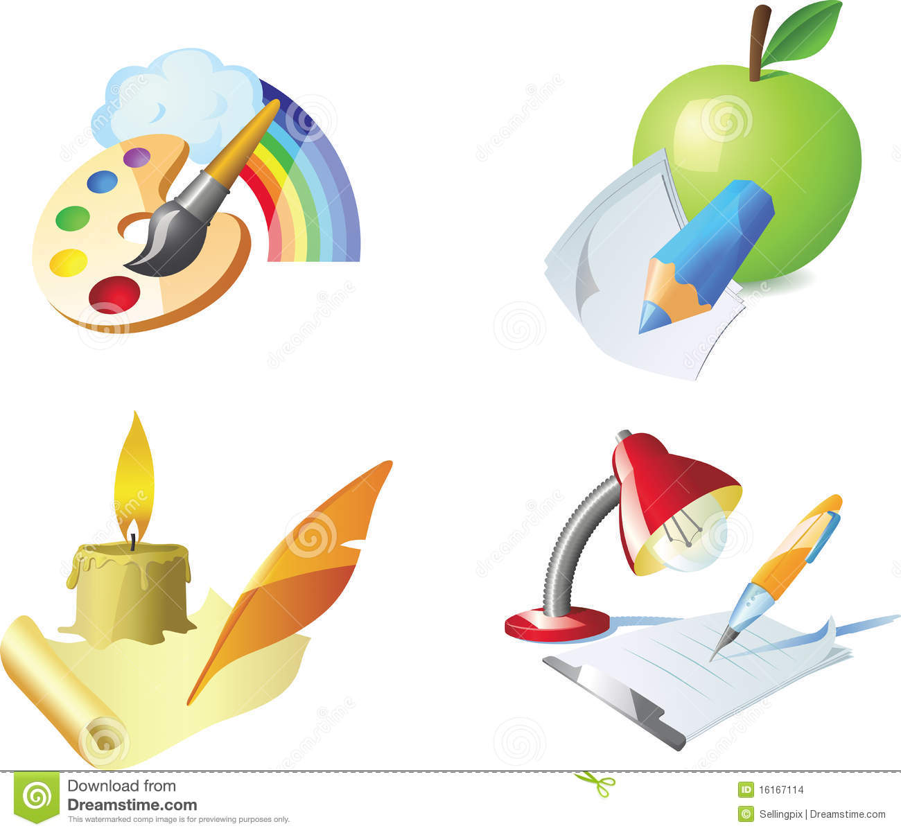Vector Painting Drawing Sketching Writing Stock Images