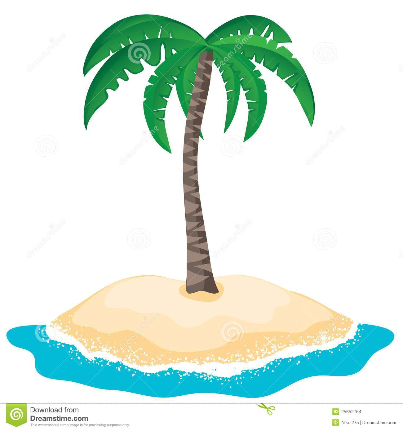 Palm Tree Island: Vector Palm Tree On The Tropical Island Stock Vector