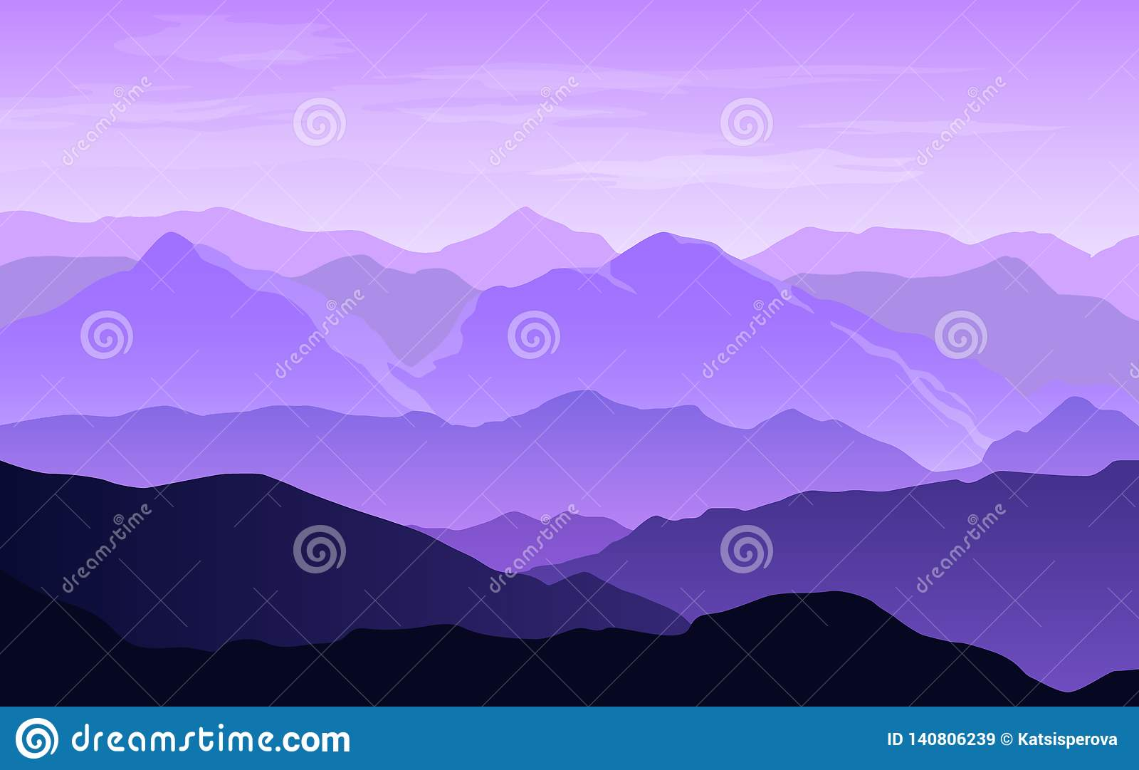 Vector panoramic landscape with purple and blue misty mountains