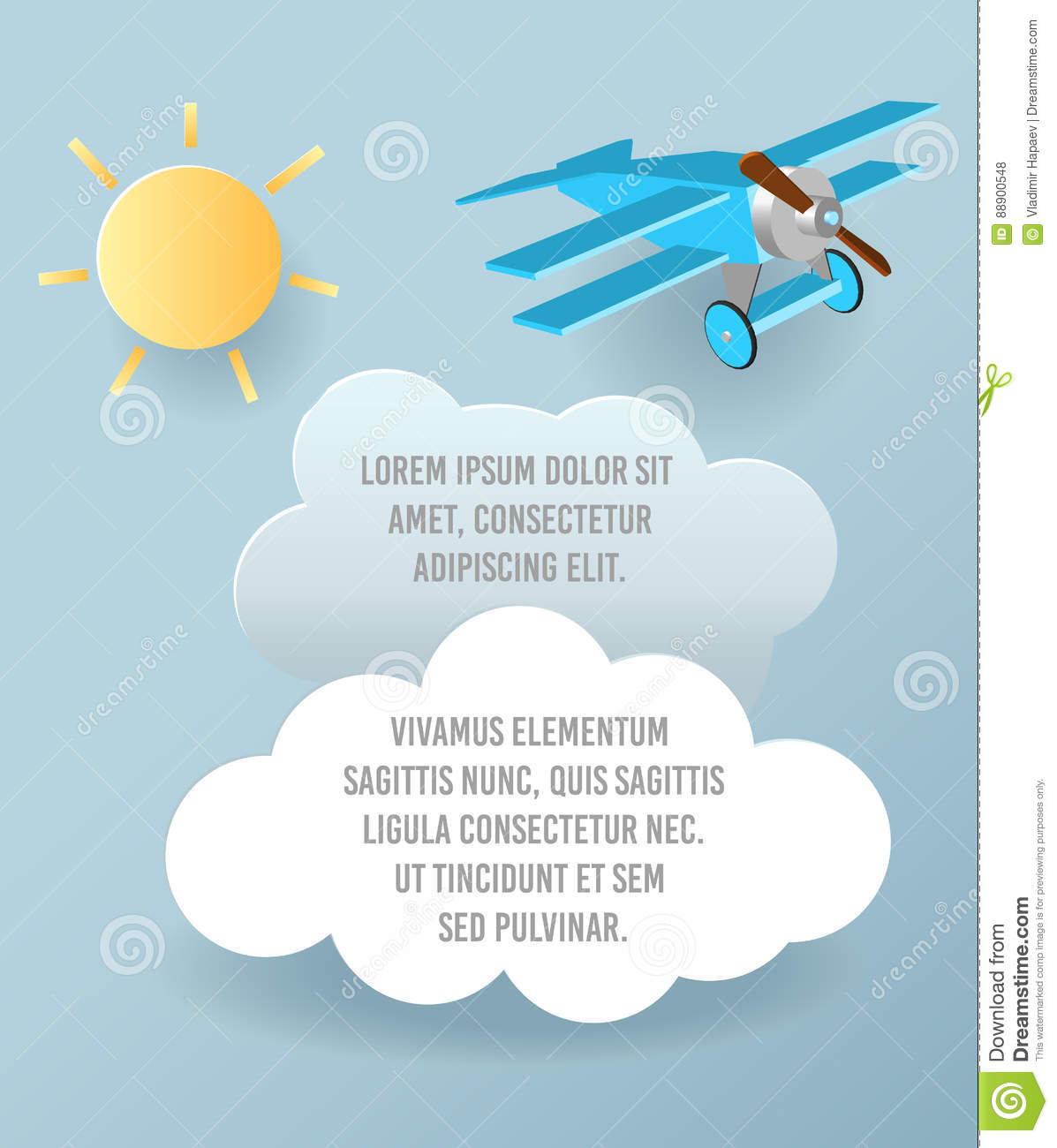 vector paper art of cloud and plane flying in the sky template
