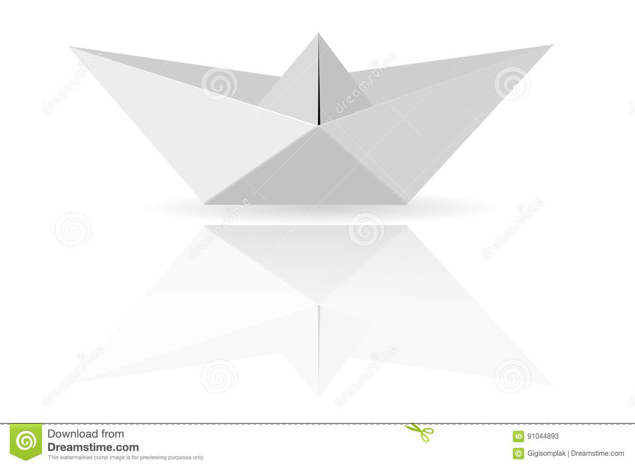 Paper Boat, at Transparent White Background