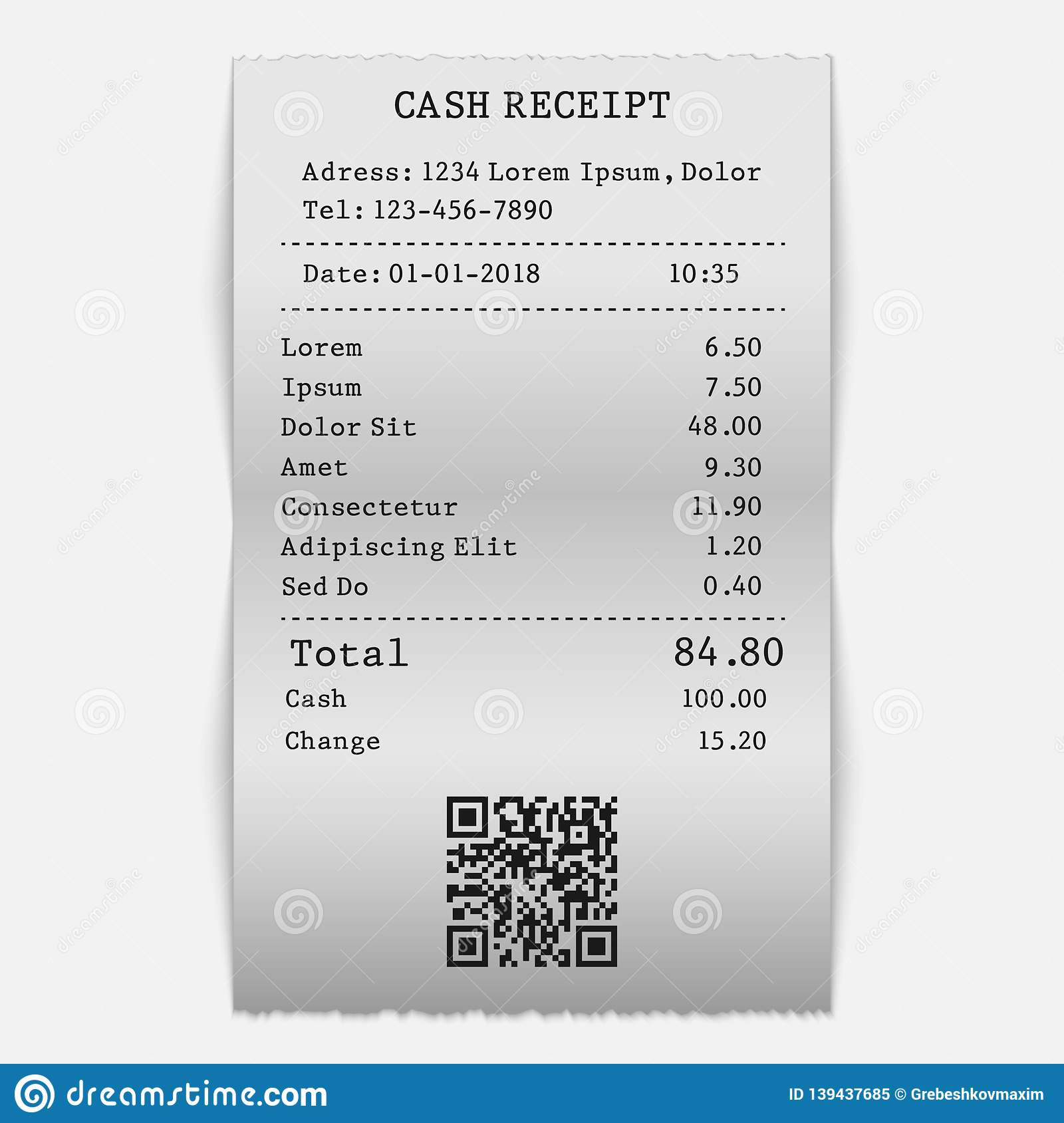 Vector Paper Cash Sell Receipt Stock Illustration