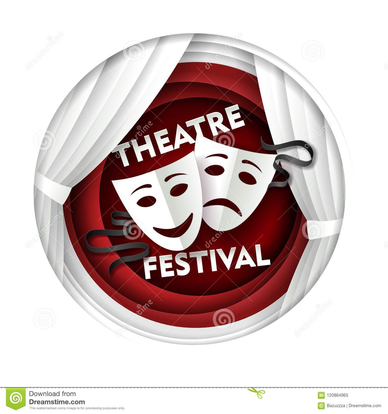 Vector Paper Cut Theater Festival Poster Template Stock Vector