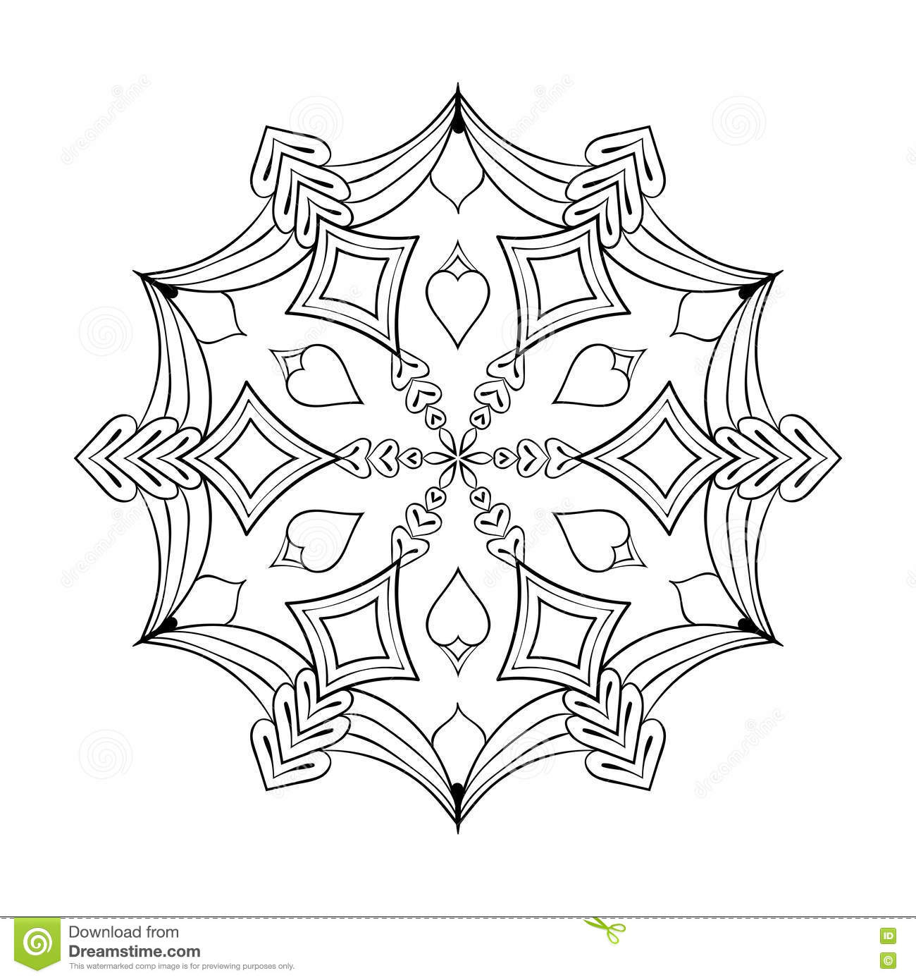 vector paper cutout snow flake in zentangle style doodle mandal