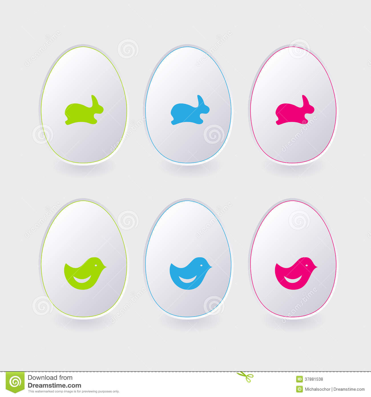 Vector Paper Easter Egg Template For Cards And Gre Stock Vector