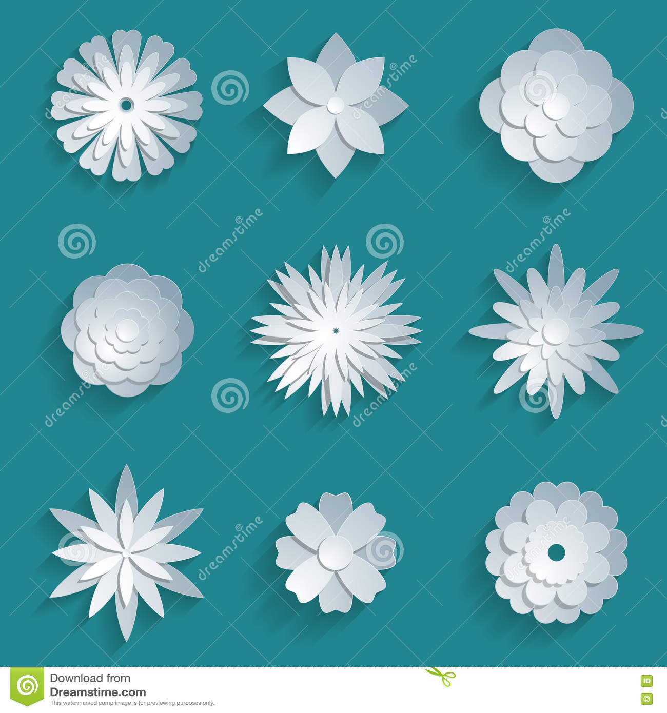 Vector paper flowers set 3d origami icons stock vector download vector paper flowers set 3d origami icons stock vector illustration of badge mightylinksfo