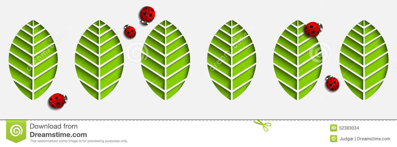 Vector Paper Leaves And Ladybugs Abstract 3D Geometrical Design