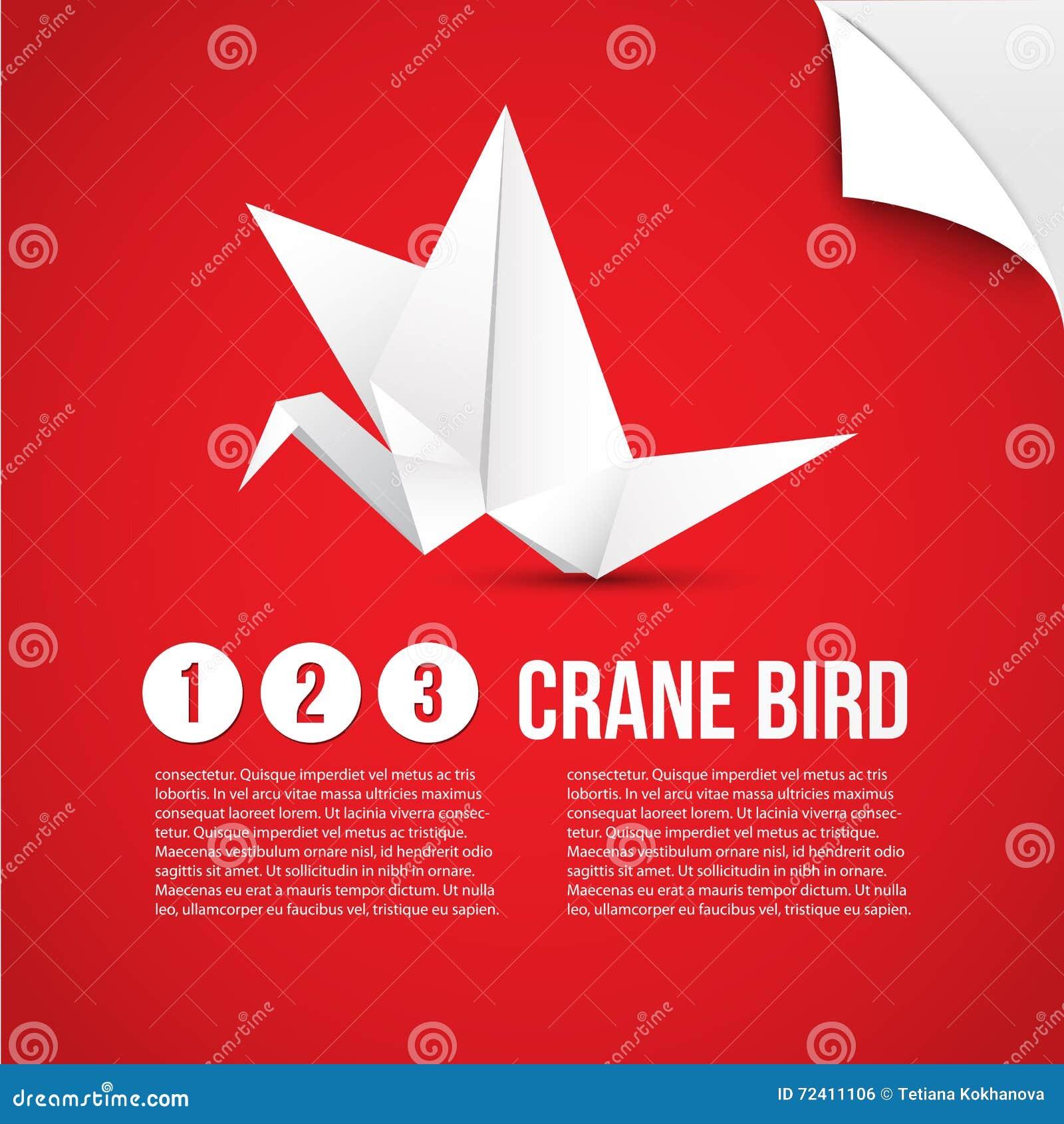 Vector Paper Origami Crane Icon. Colorful Origamy Set. Paper Design ...