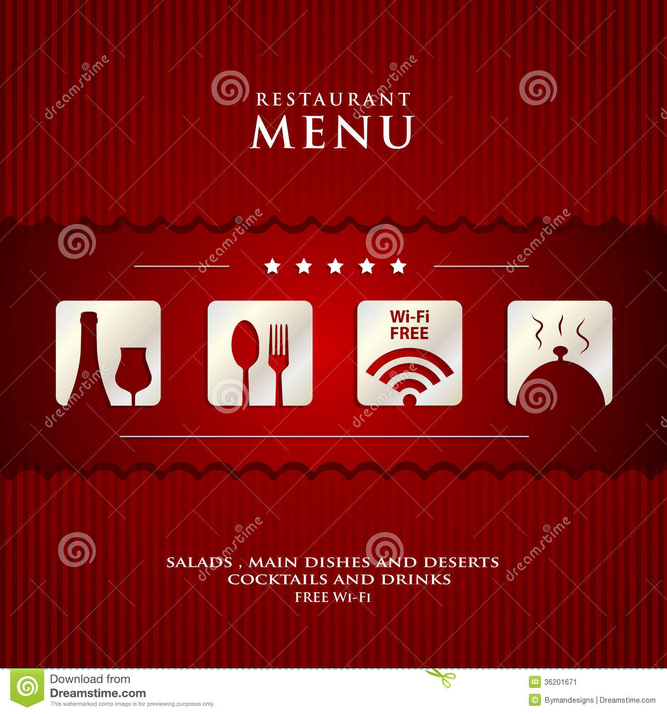 Vector paper restaurant menu design stock image