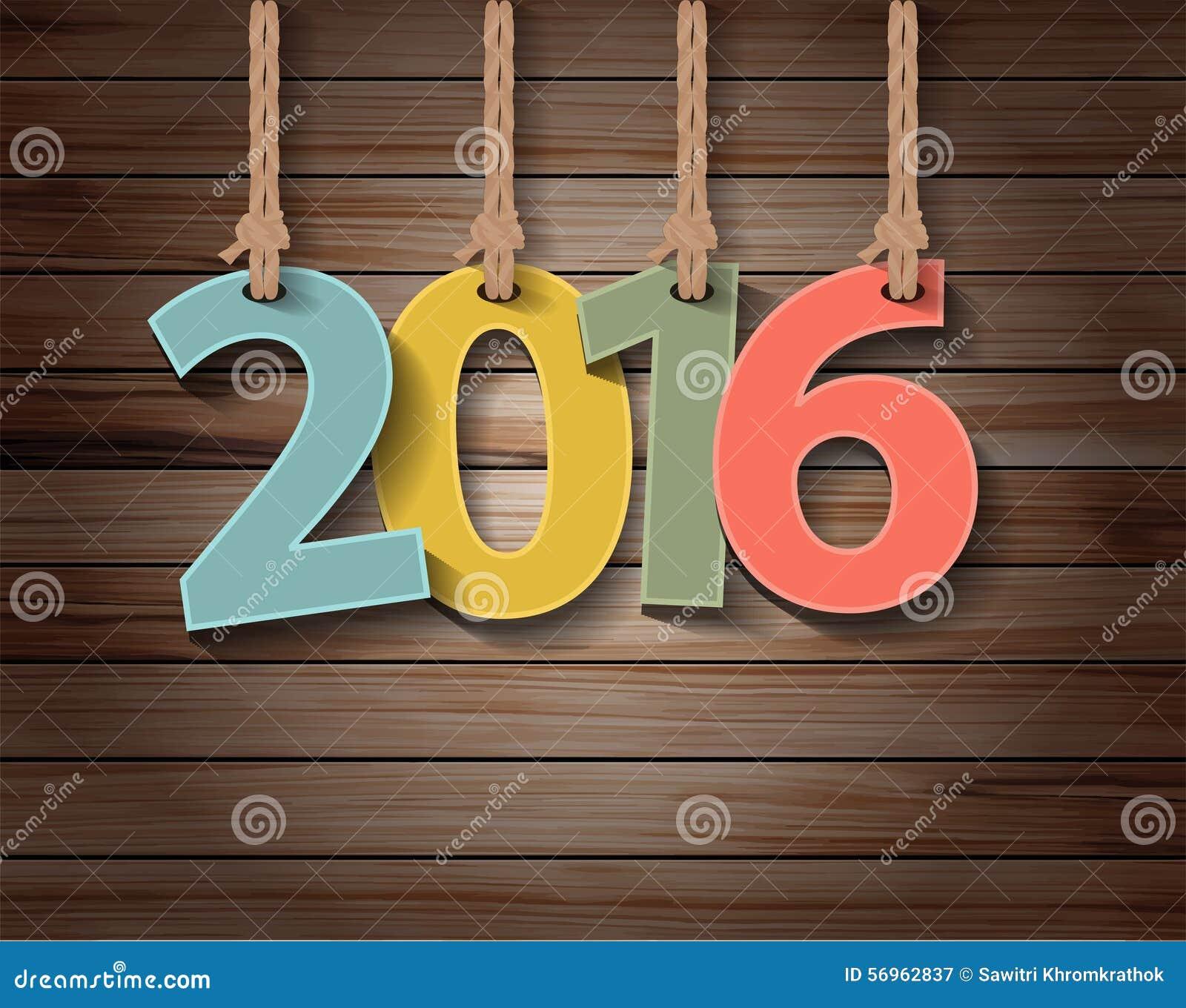 Vector Papiergrußkarte des neuen Jahres 2016 auf hölzerner Beschaffenheit