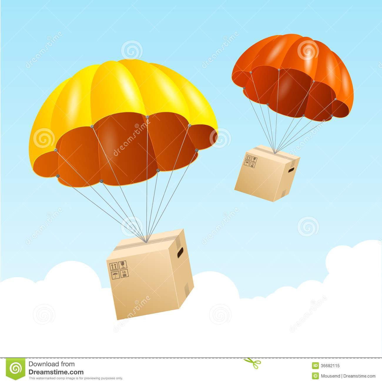 Vector Parachute Background. Air Shipping Concept Royalty ...