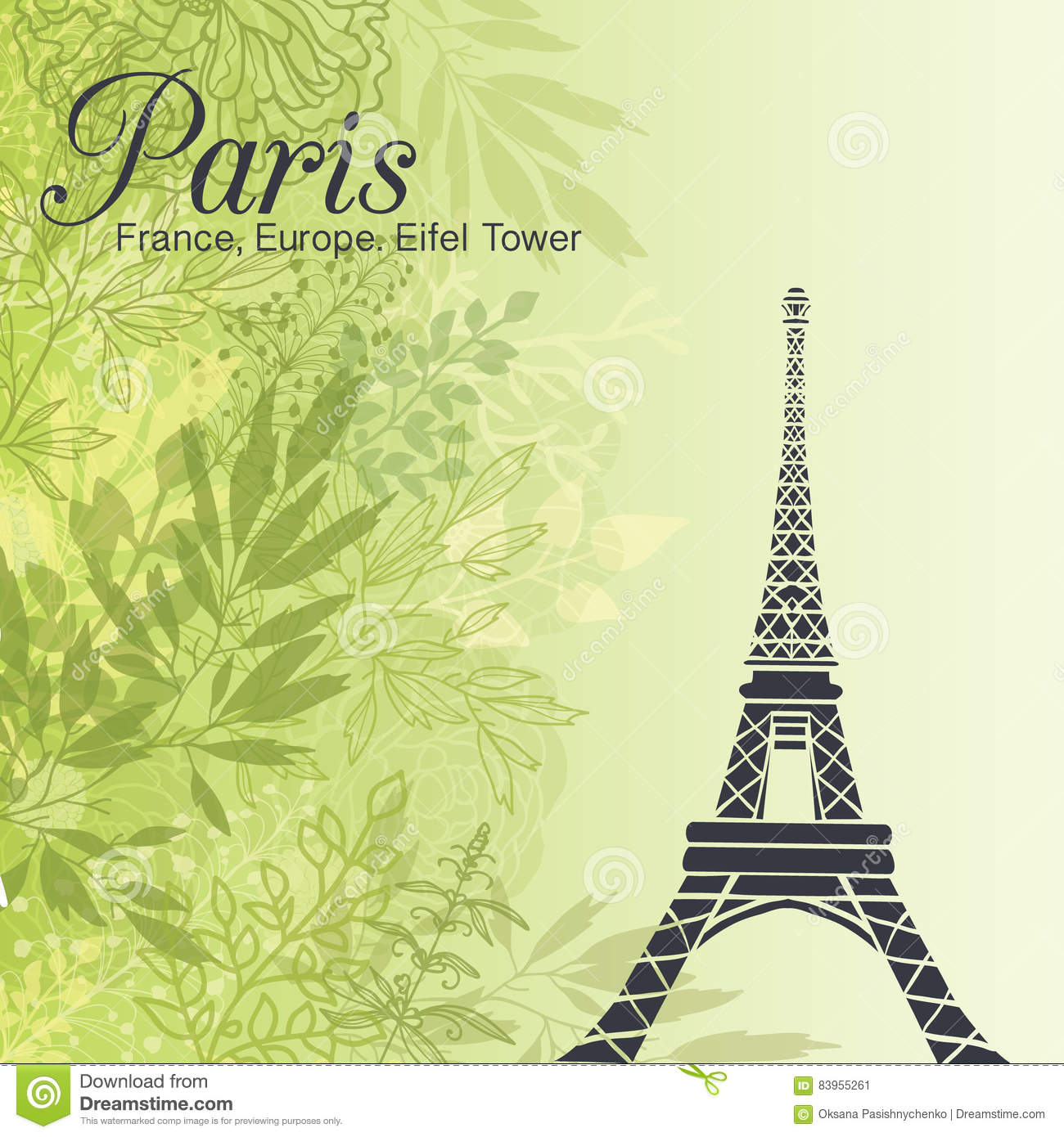 Vector Paris Eiffel Tower On Green Leaves Spring Background Stock