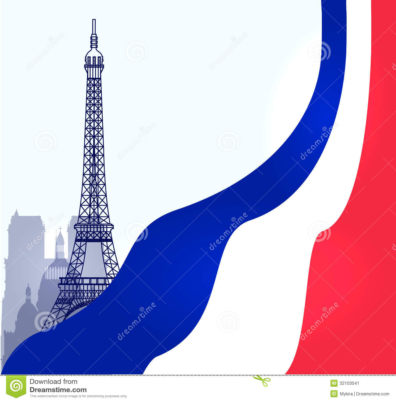 ... Paris Illustration With French Flag Stock Image - Image: 32103041