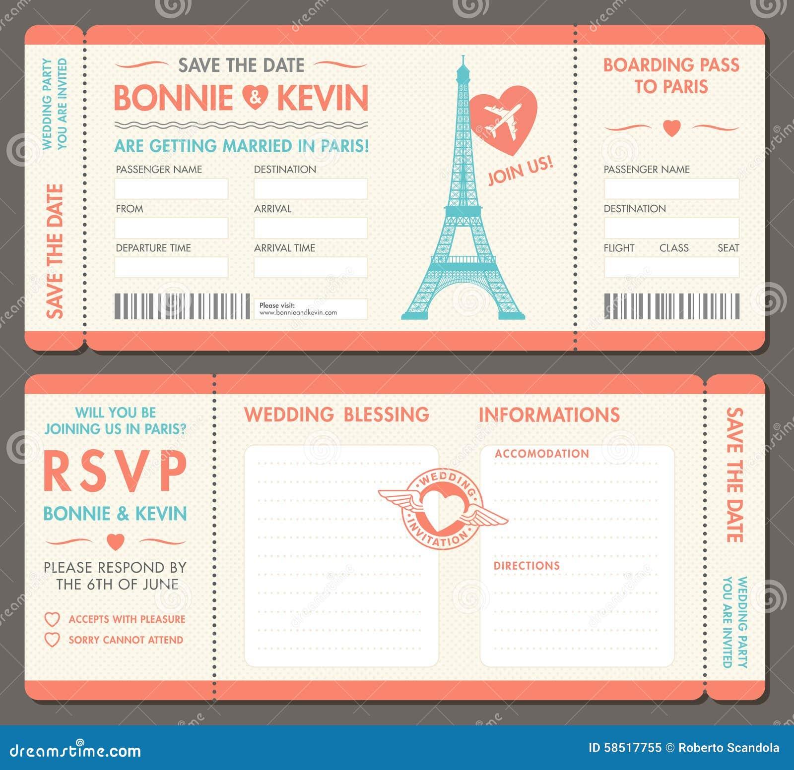 Vector Paris Wedding Invite Tickets Stock Vector Image