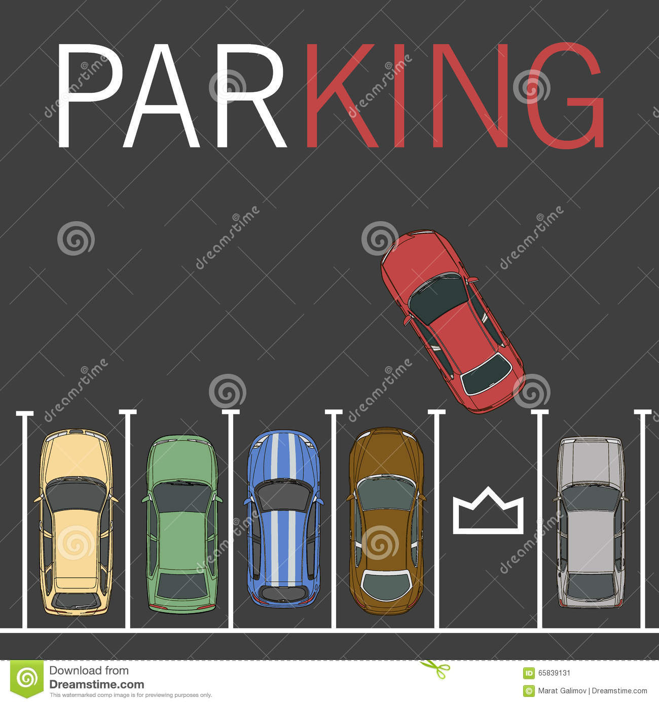 Top View Of Car Park Vector Illustration