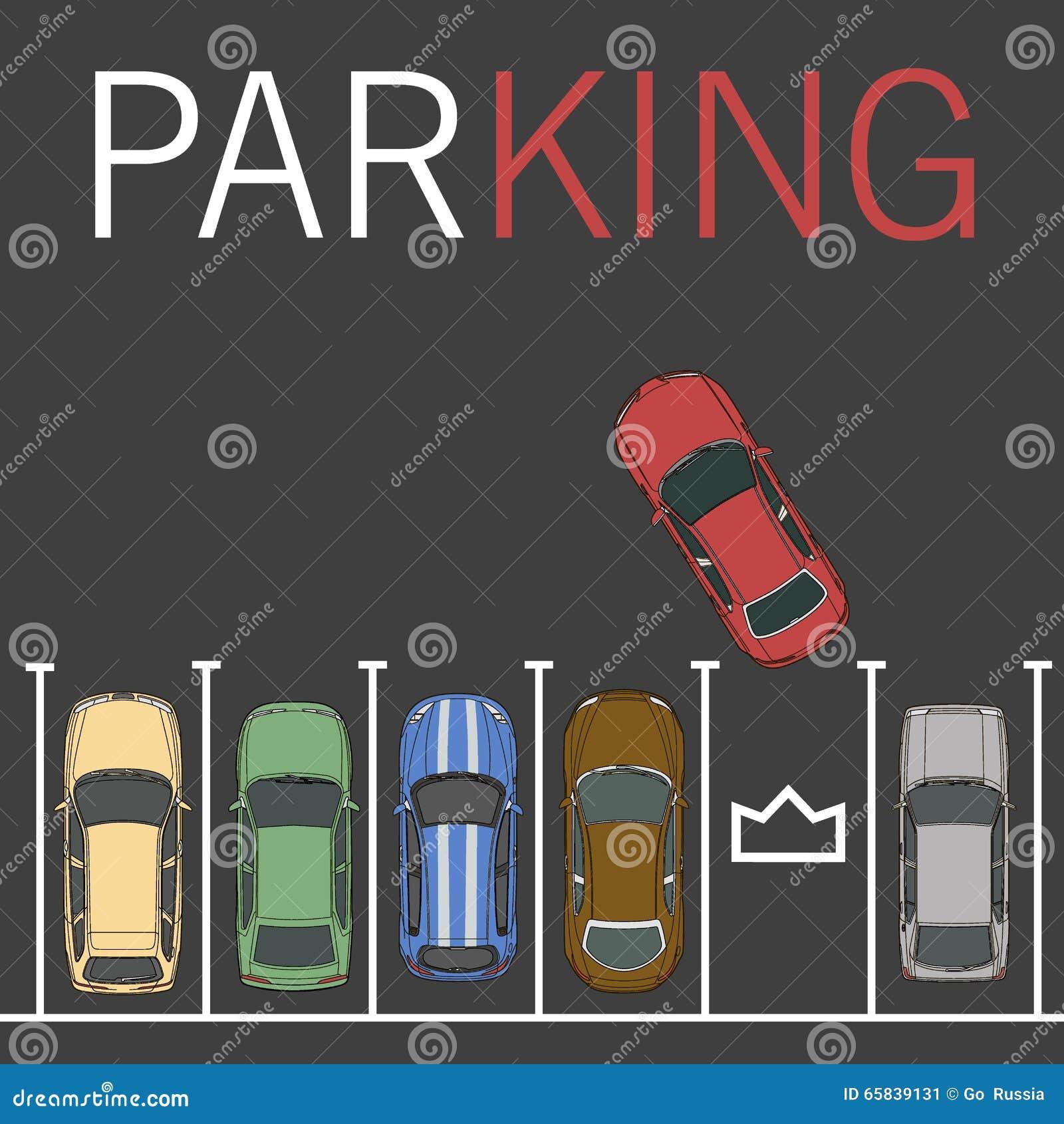 Top View Of Car Park Vector Illustration Cartoondealer