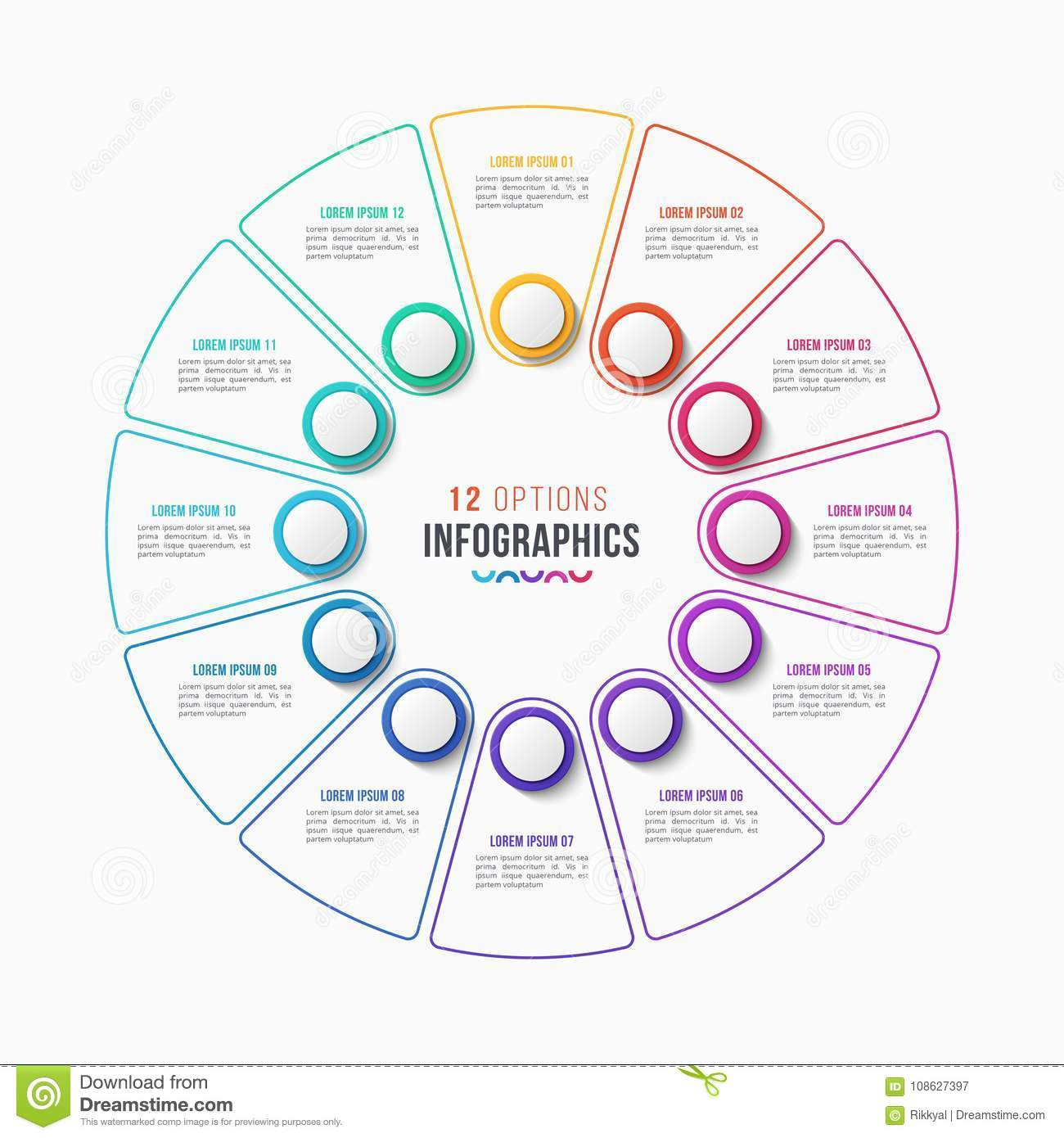 Vector 12 parts infographic design, circle chart