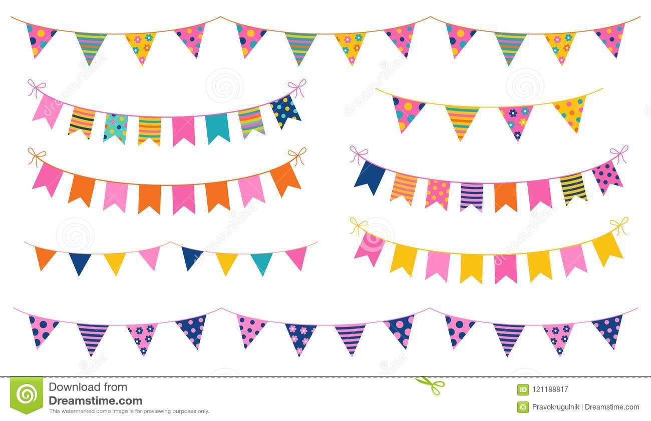 Vector Party Buntings With Colorful Flags Stock Vector