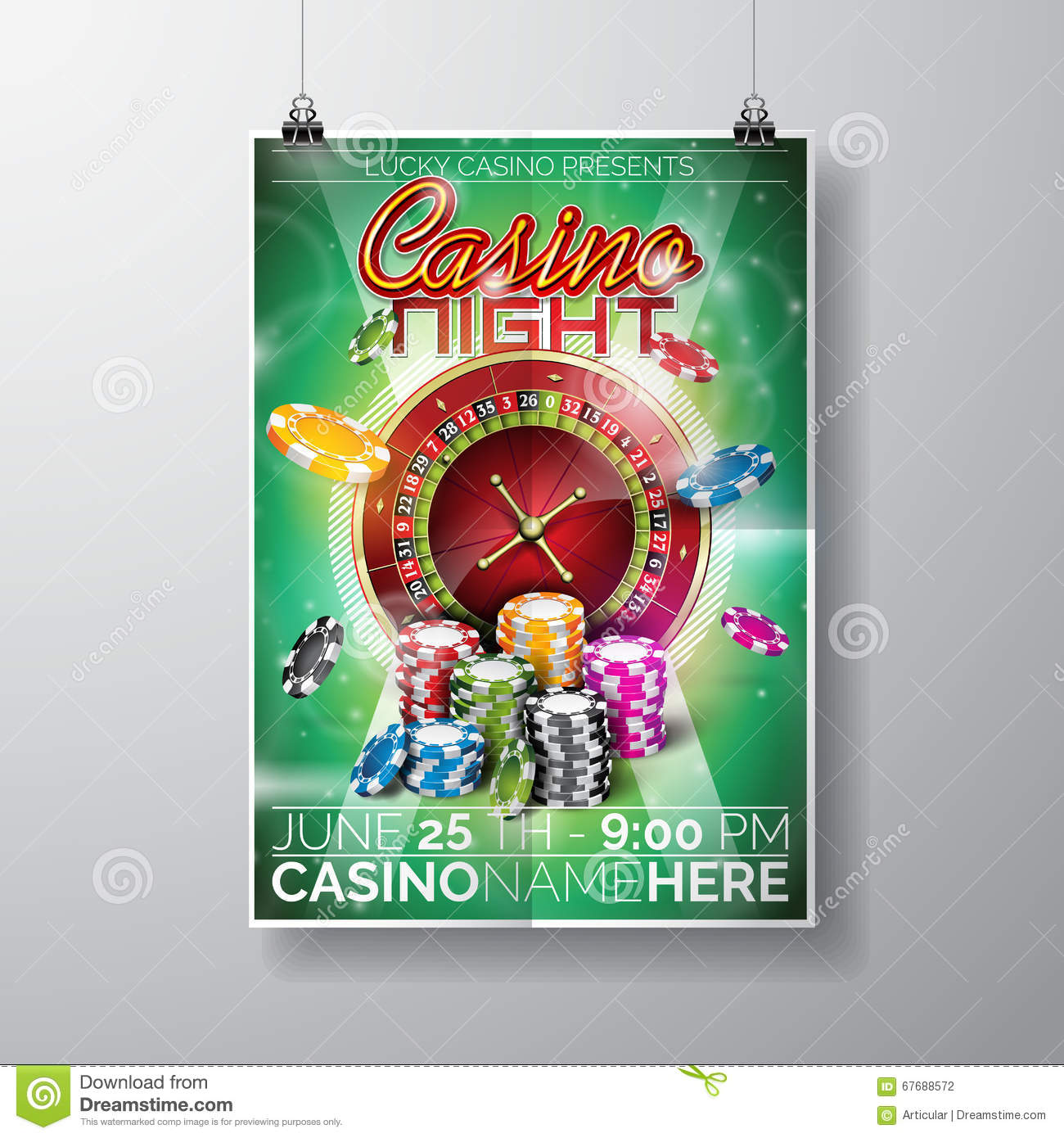Vector Party Flyer design on a Casino theme with chips and roulette wheel on green background.